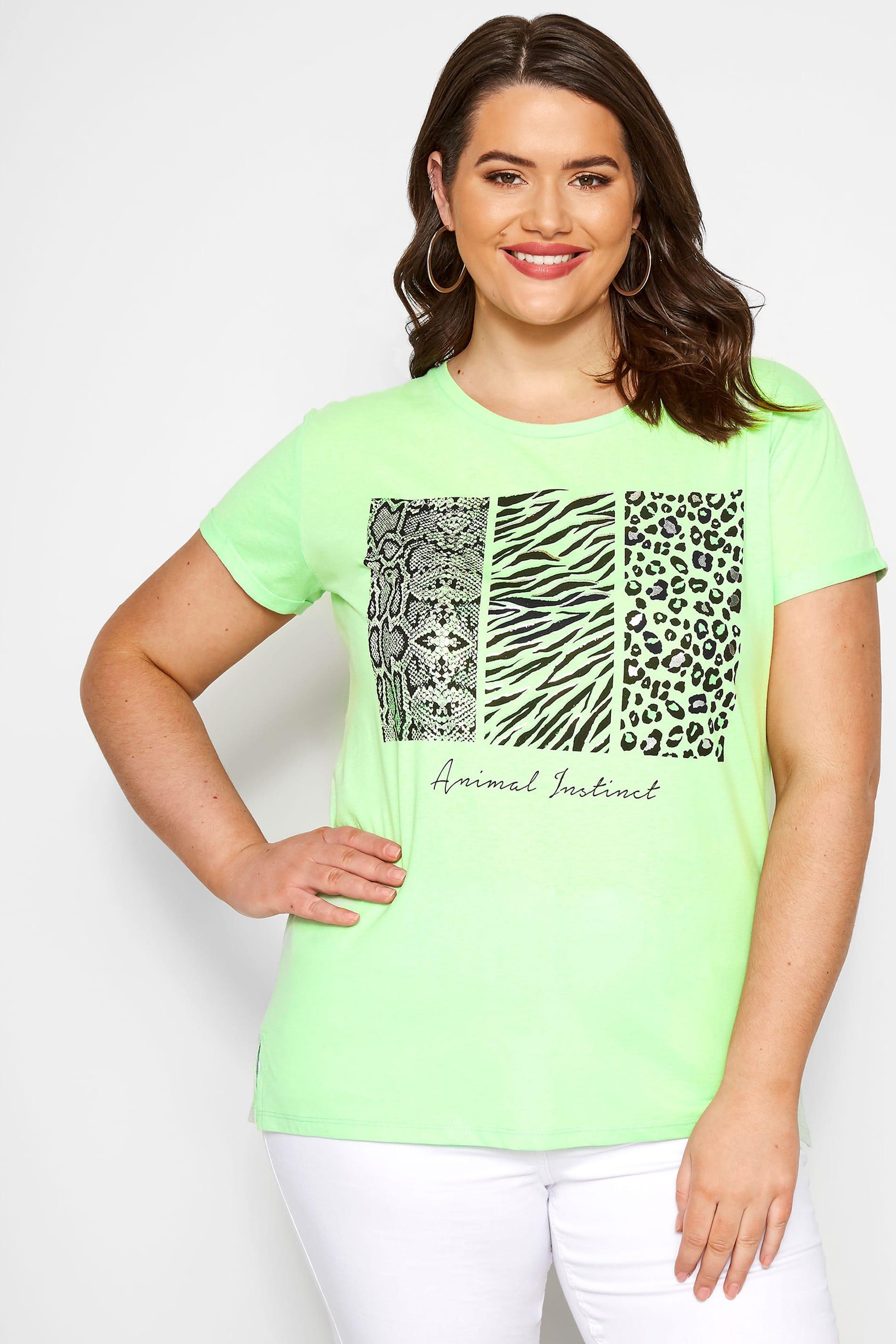 Neon Green Animal Slogan T-Shirt