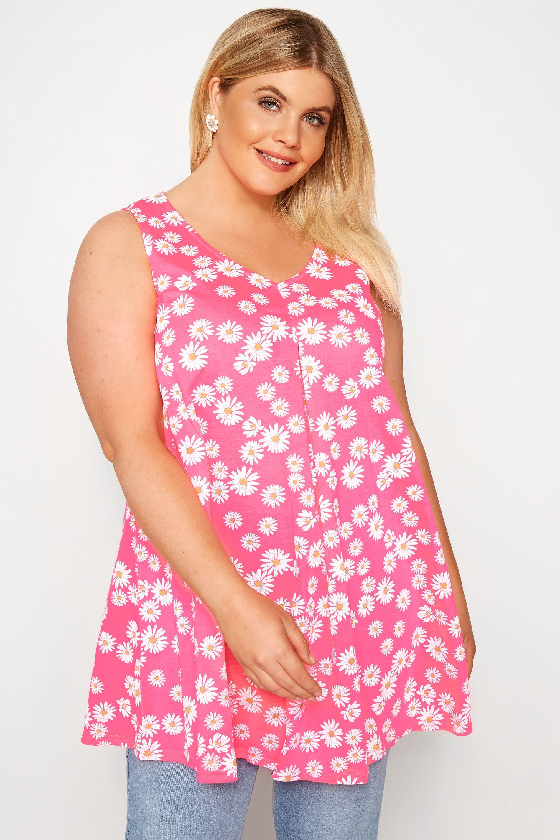 Neon Pink Daisy Print Swing Top