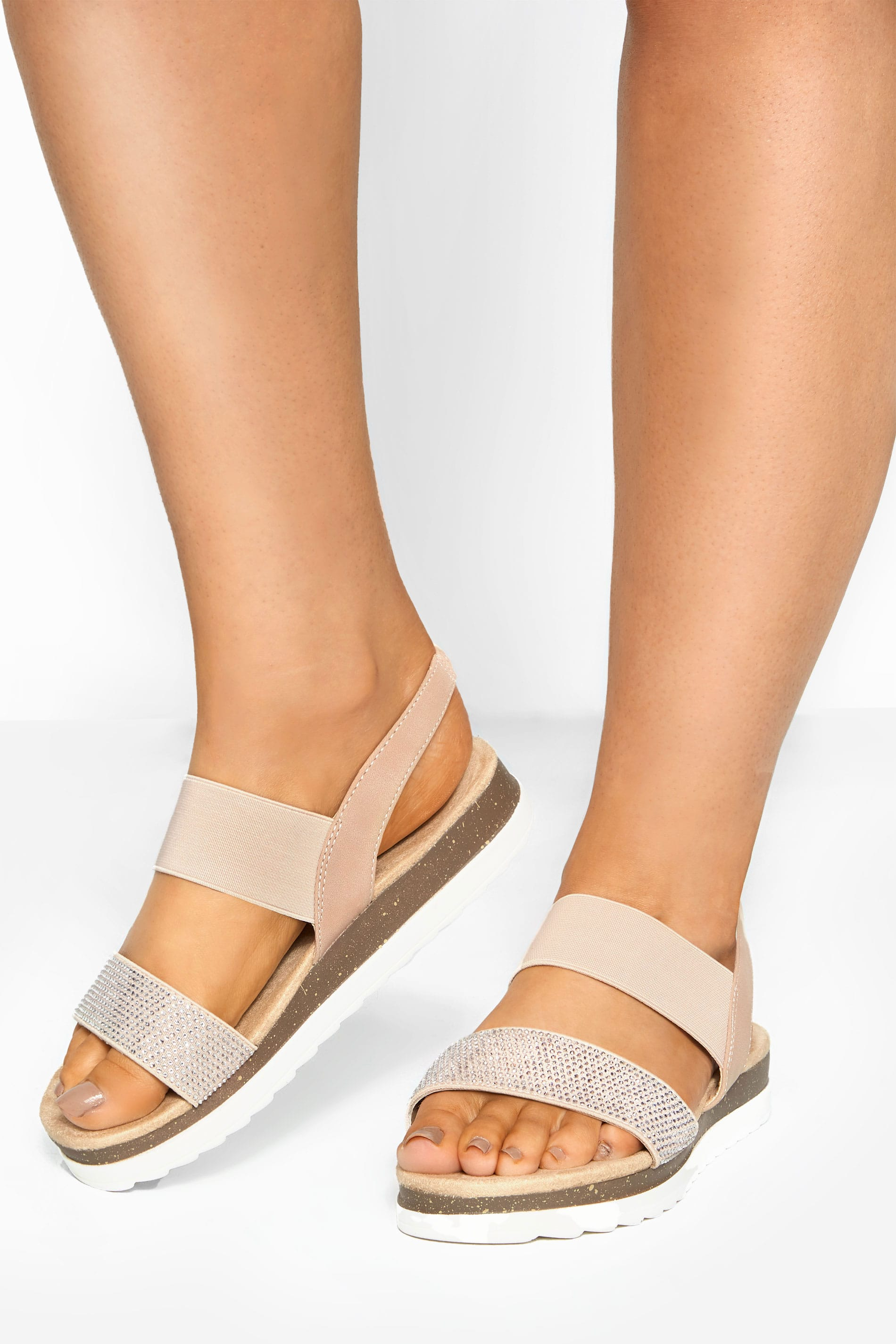 Nude Embellished Comfort Sandals In Extra Wide Fit