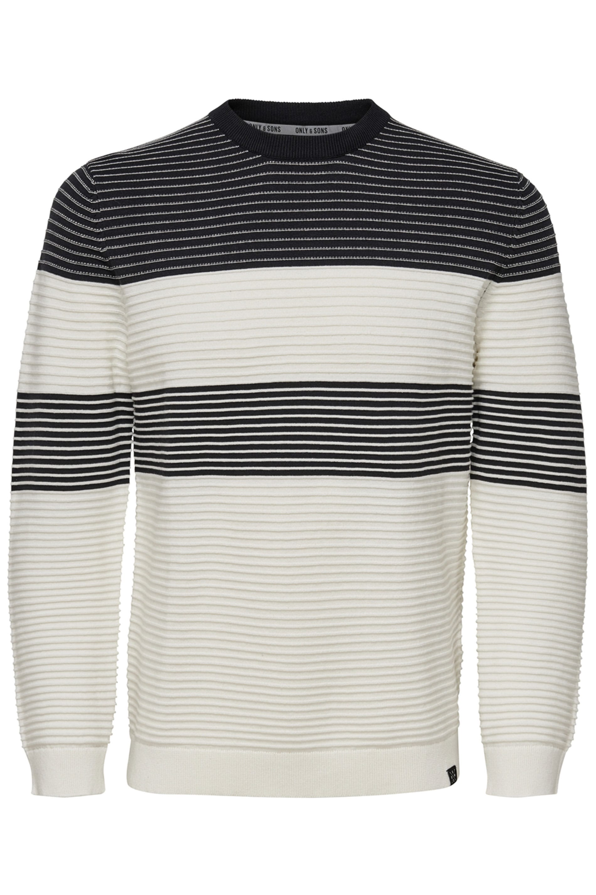 ONLY & SONS White Stripe Knitted Jumper