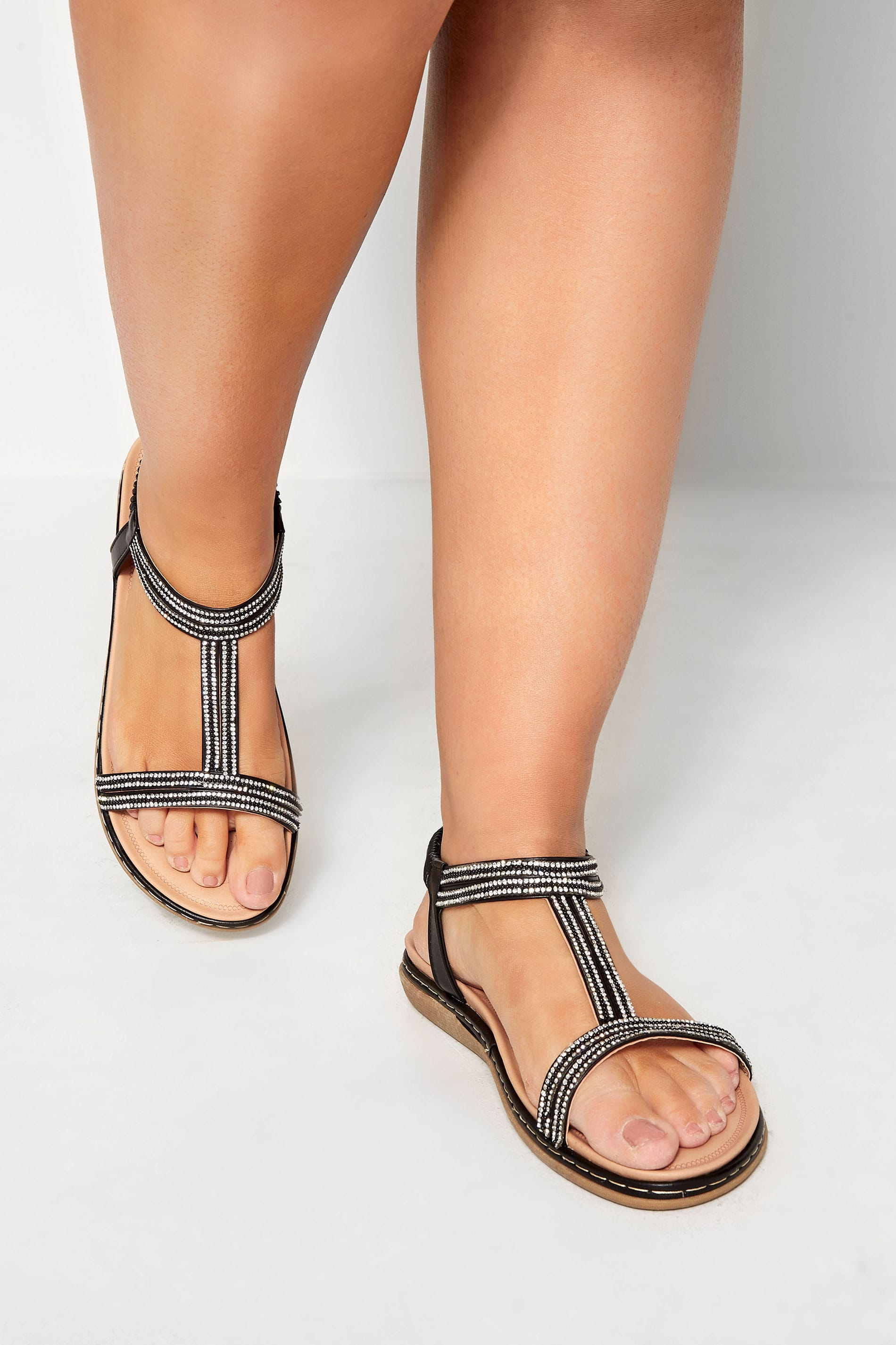 Black Diamante H-Band Sandals In Extra Wide Fit