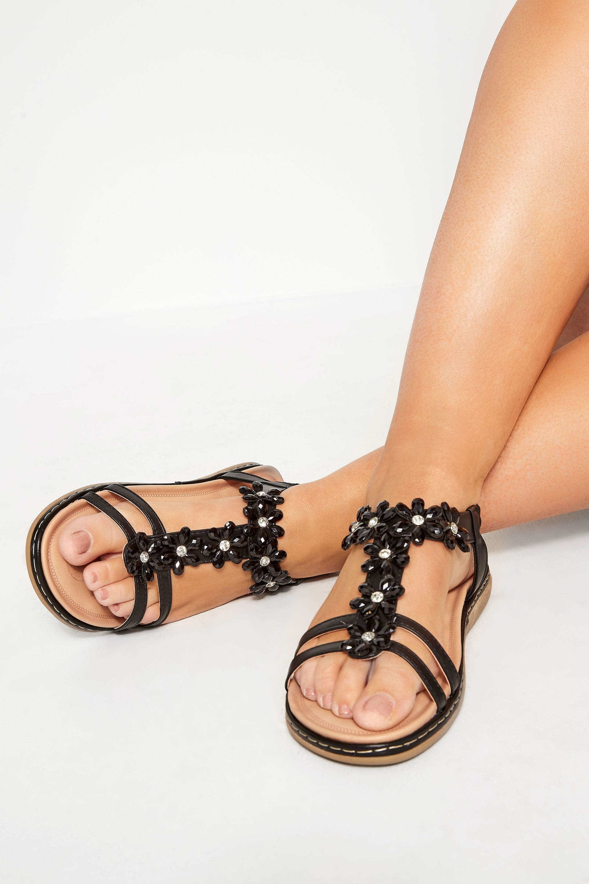Black Flower Diamante T-Bar Sandals In Extra Wide Fit