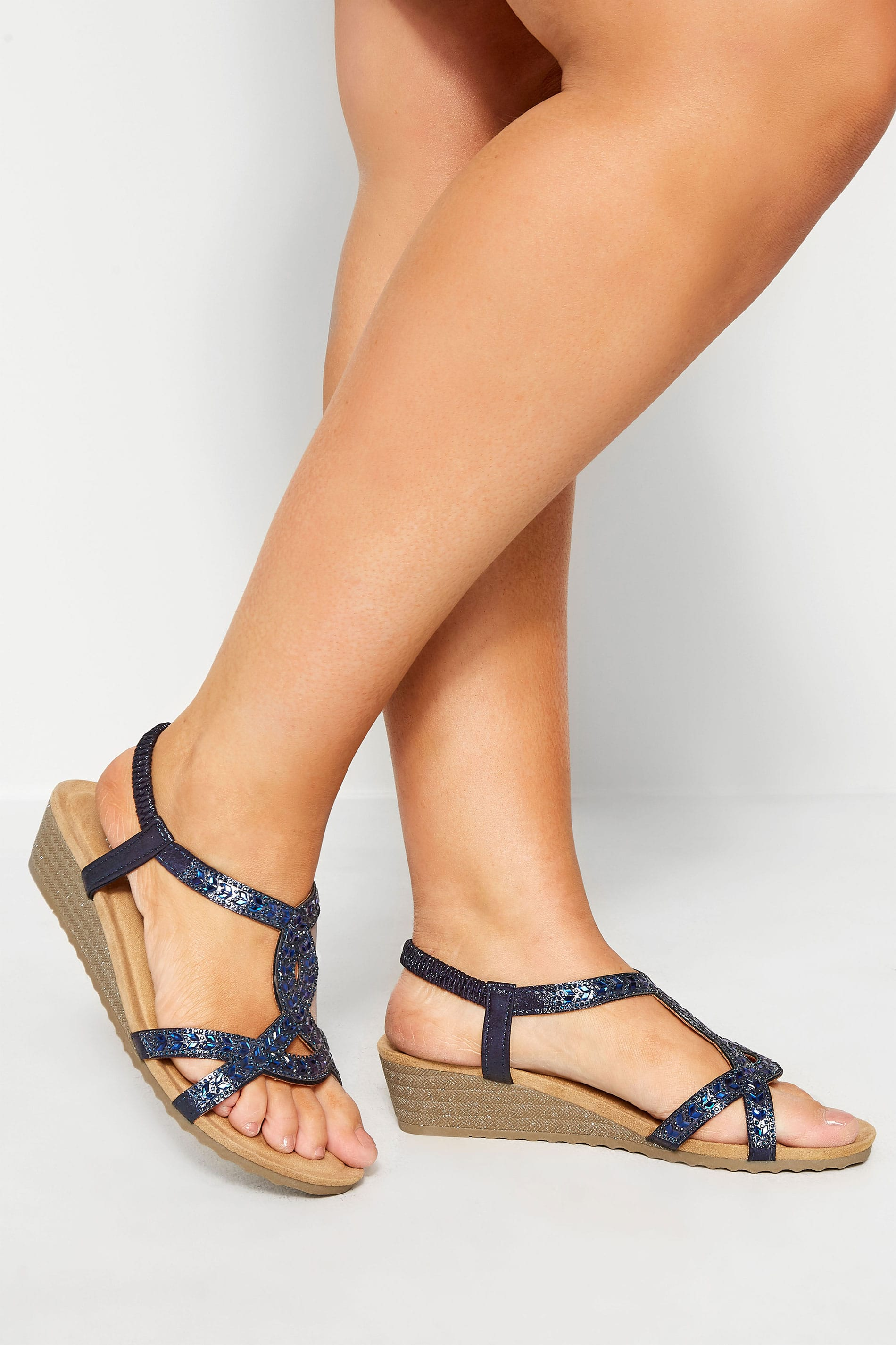 Navy Diamante Twist Wedge Sandals In Extra Wide Fit