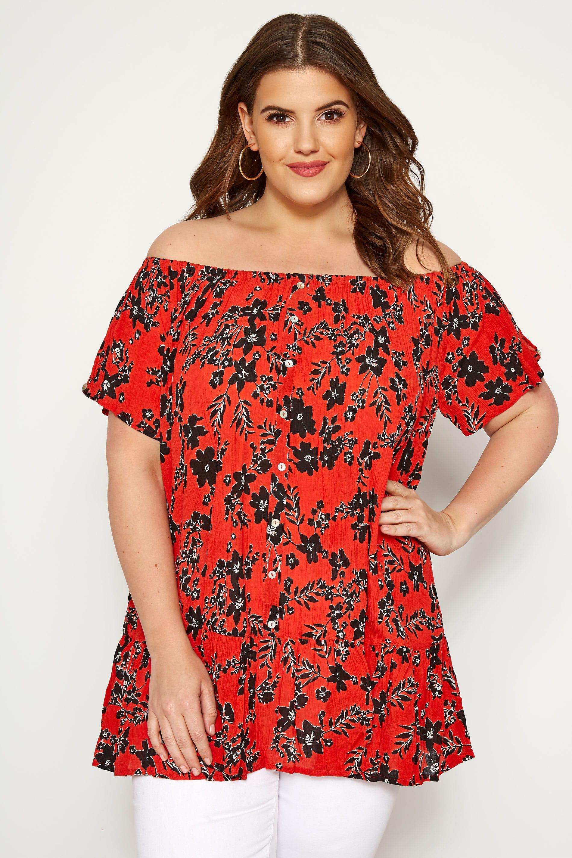 Red Floral Gypsy Bardot Top