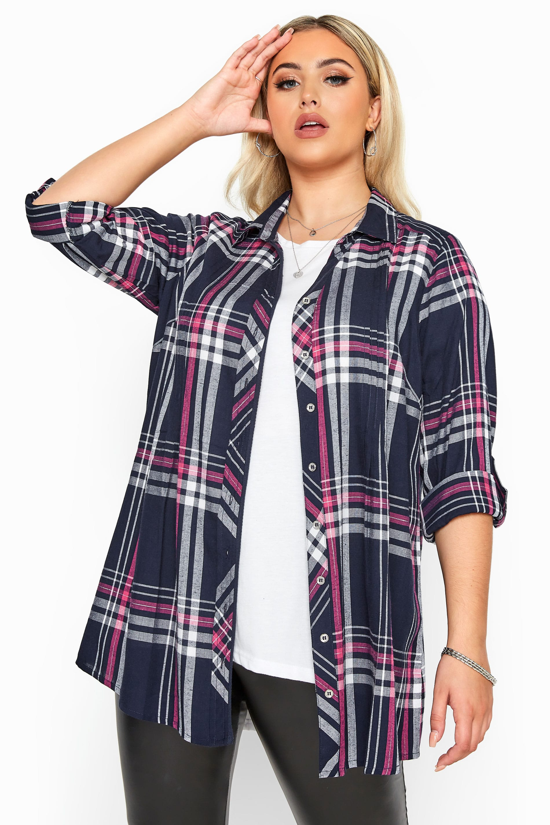 Navy & Pink Check Metallic Pleat Shirt