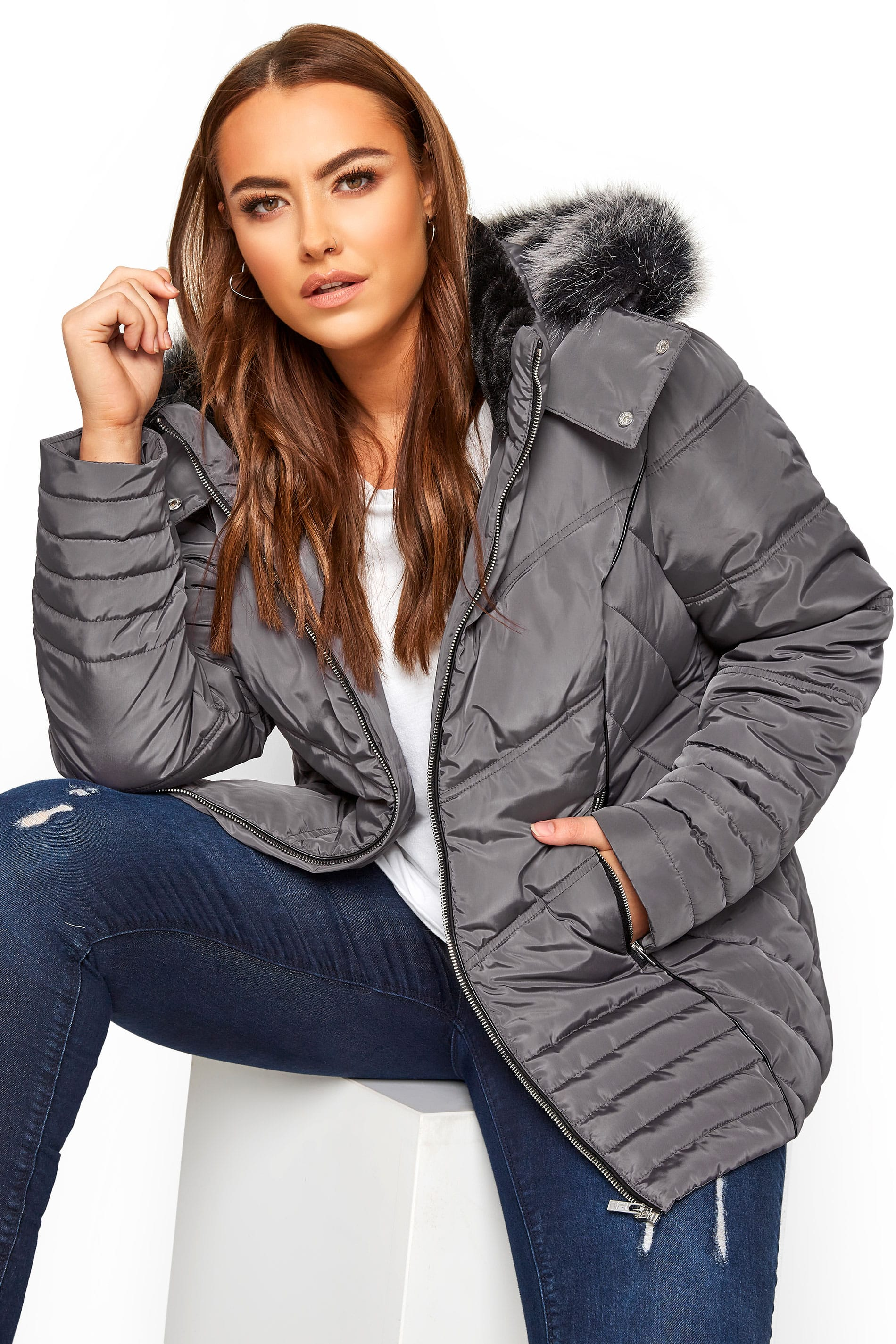 Grey PU Trim Panelled Puffer Jacket