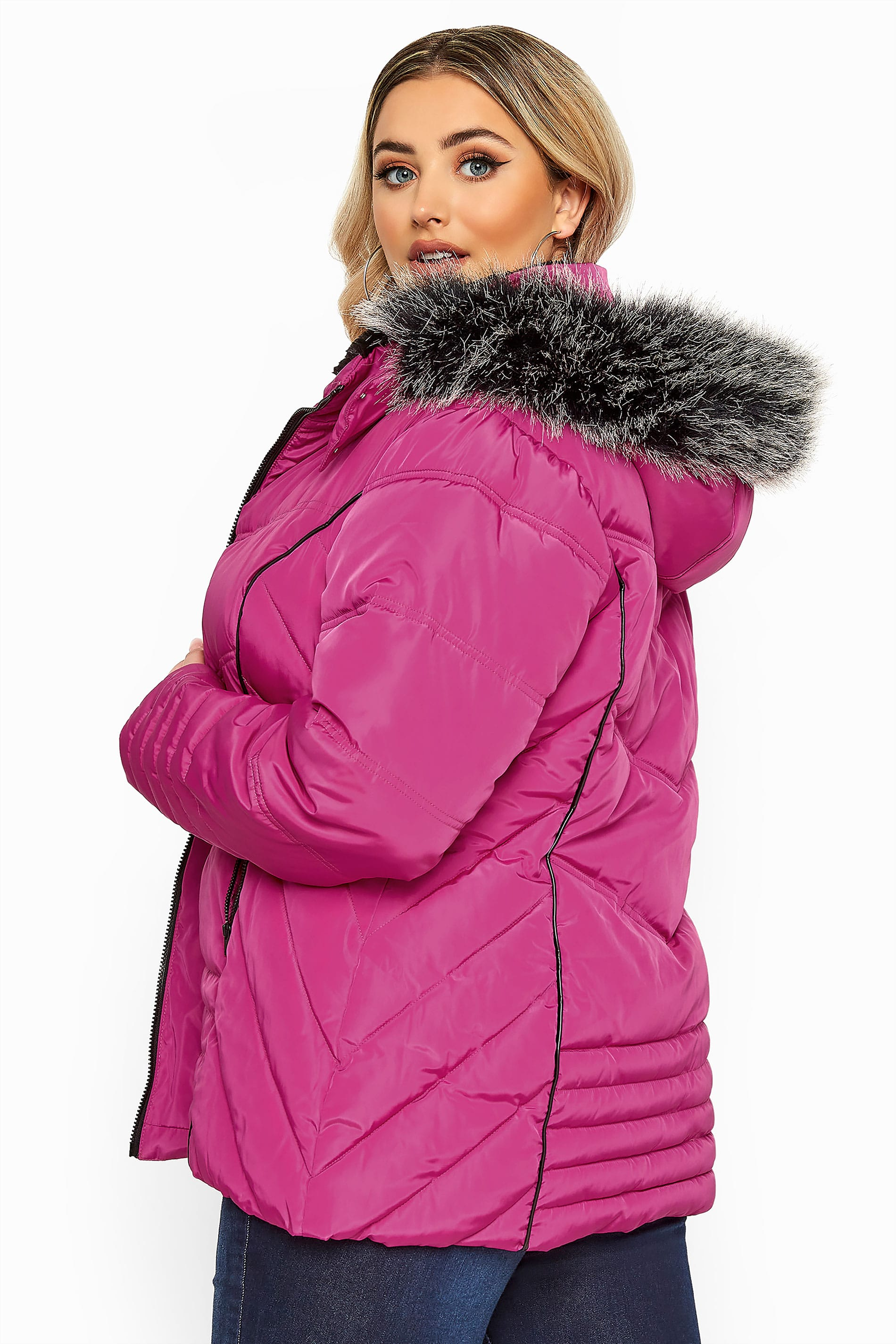 Pink PU Panelled Puffer Coat