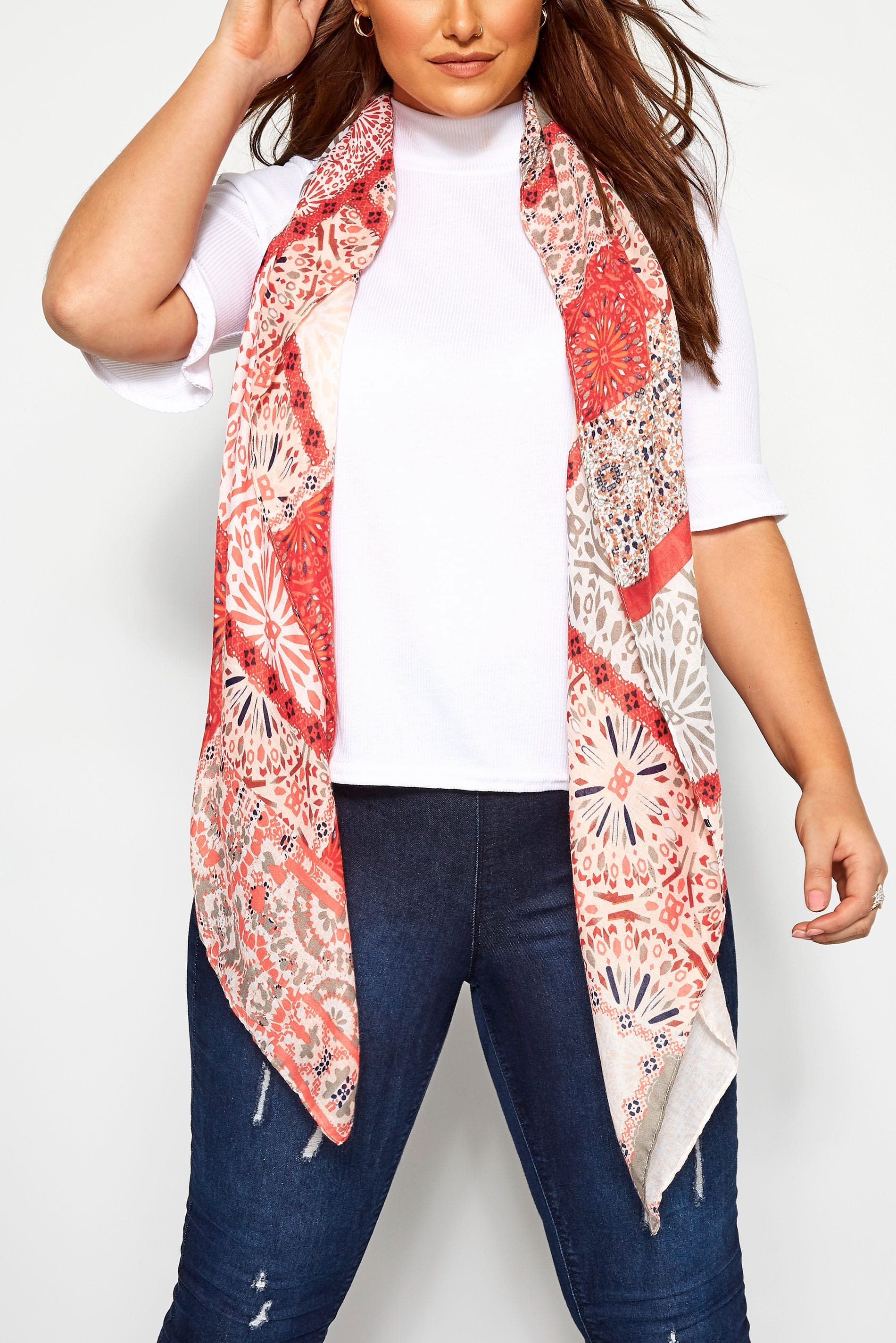 Red Mixed Patchwork Print Scarf