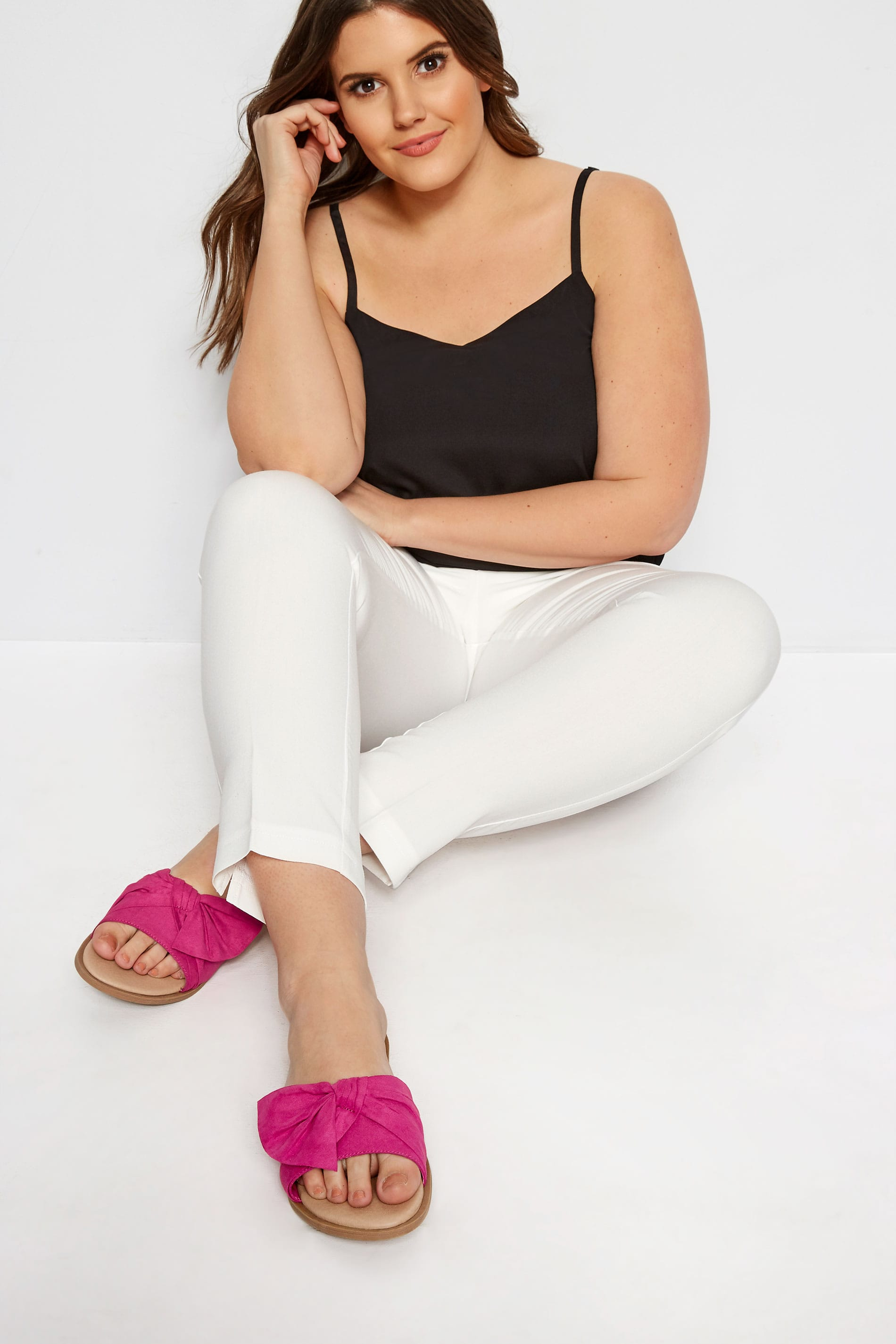 Pink Bow Flat Mules In Extra Wide Fit