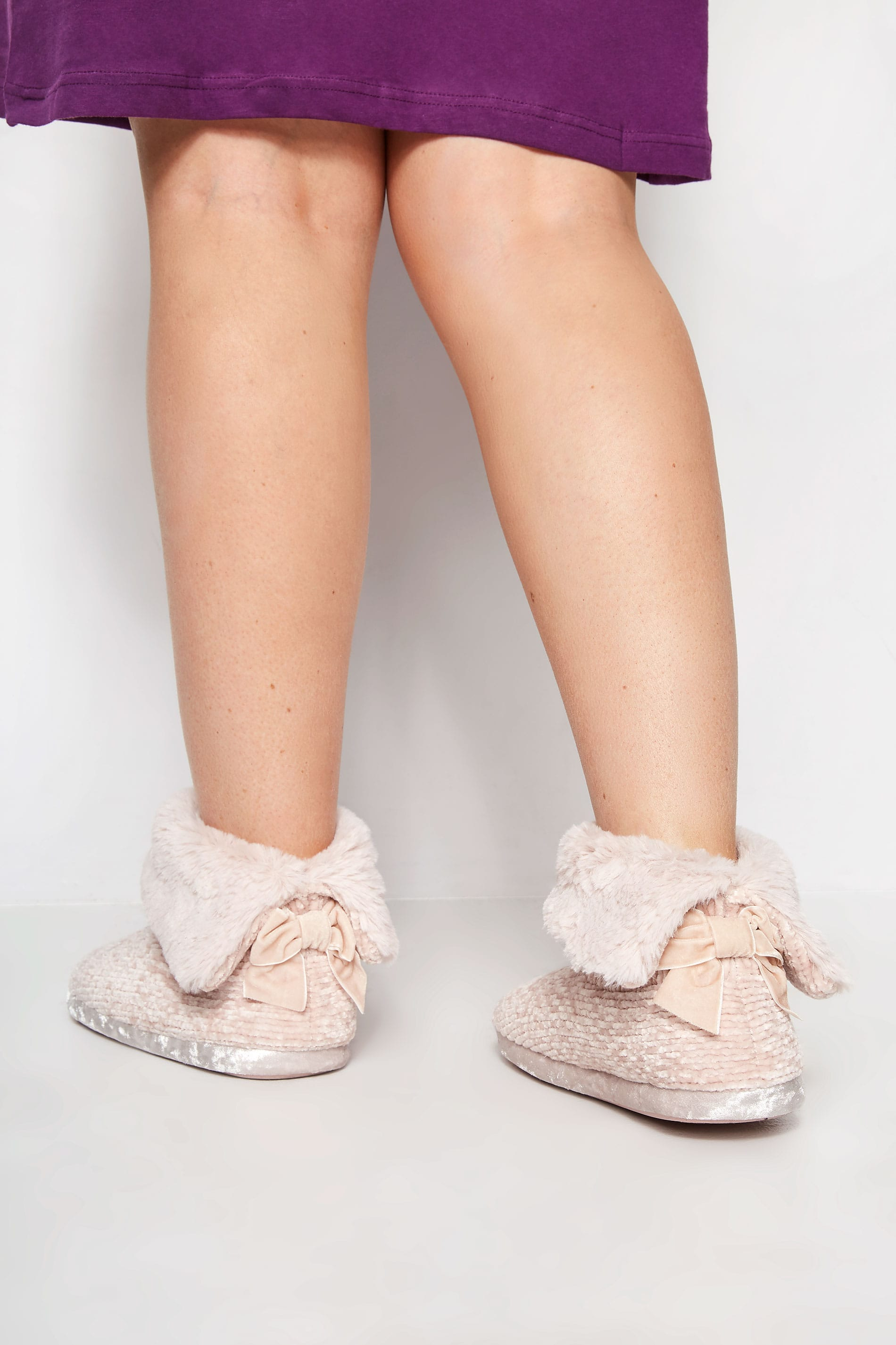 Pink Chenille Knit Slipper Boot In Wide Fit