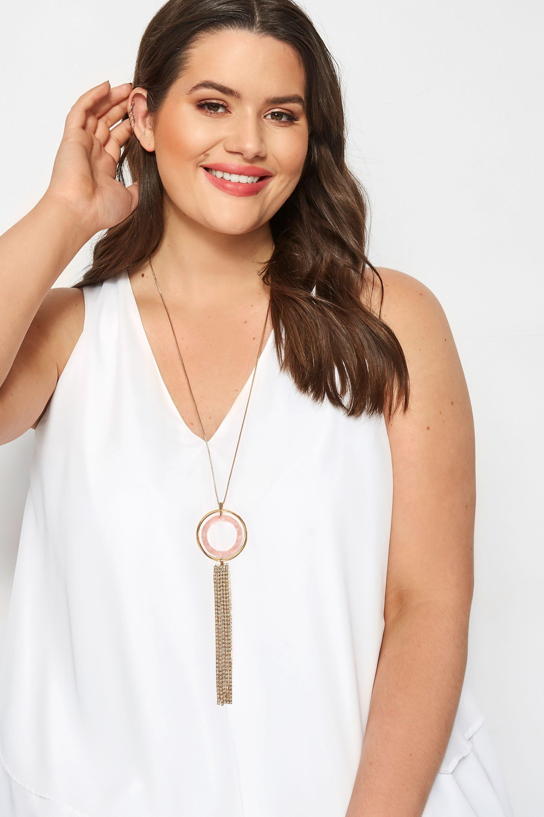 Pink Diamante Tasselled Pendant Necklace