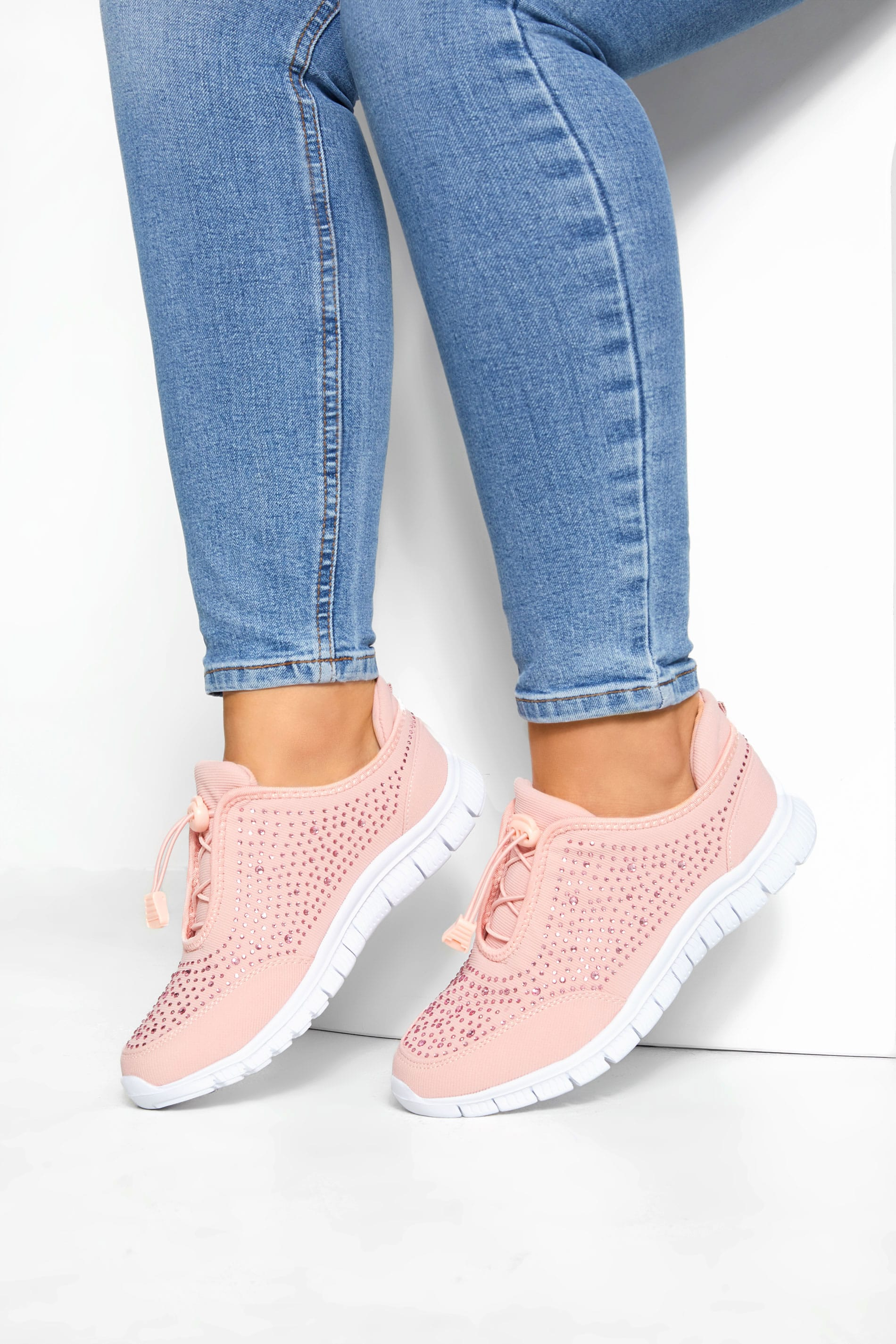 Yours Pink Embellished Trainers In Extra Wide Fit