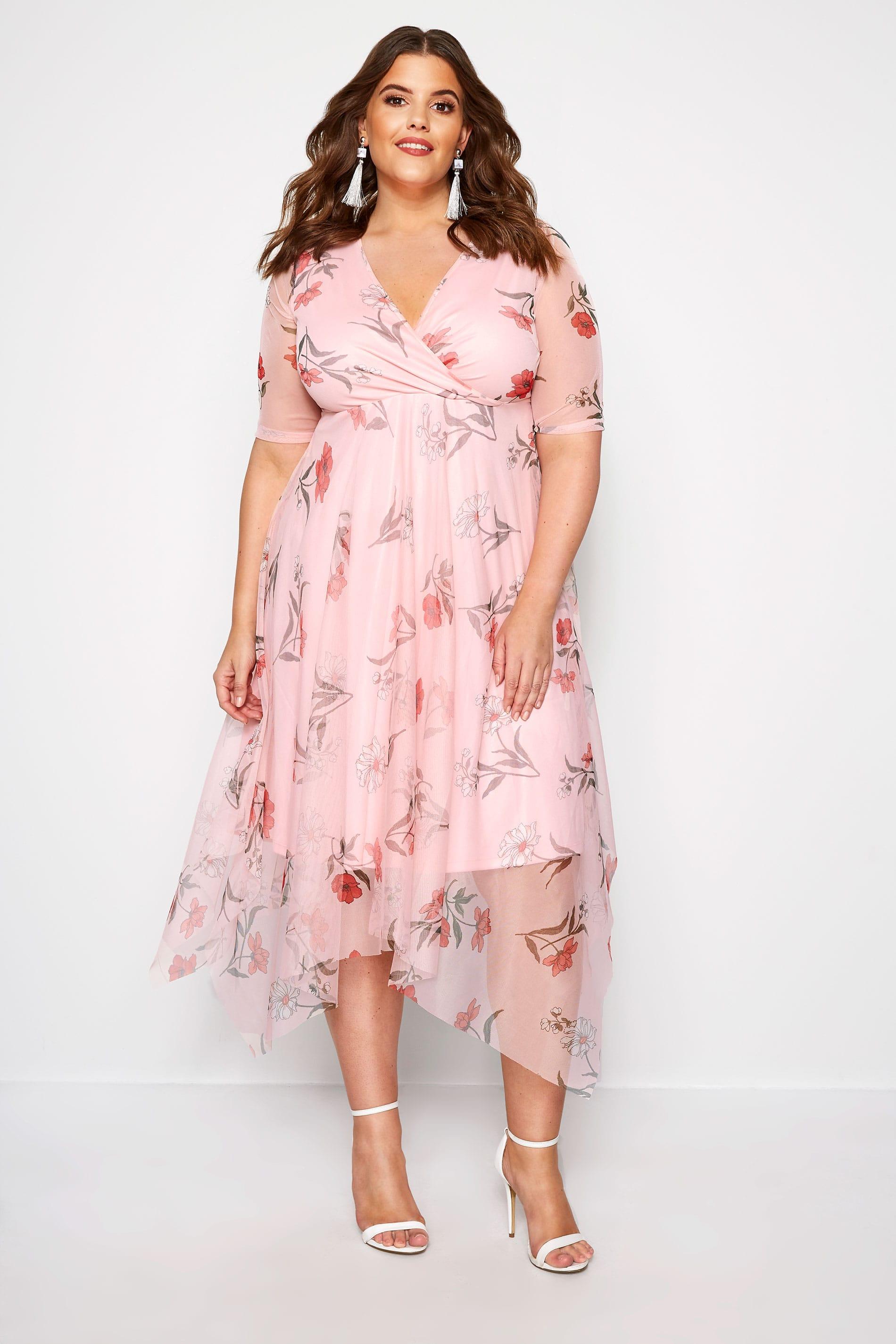 Pink Floral Wrap Mesh Dress