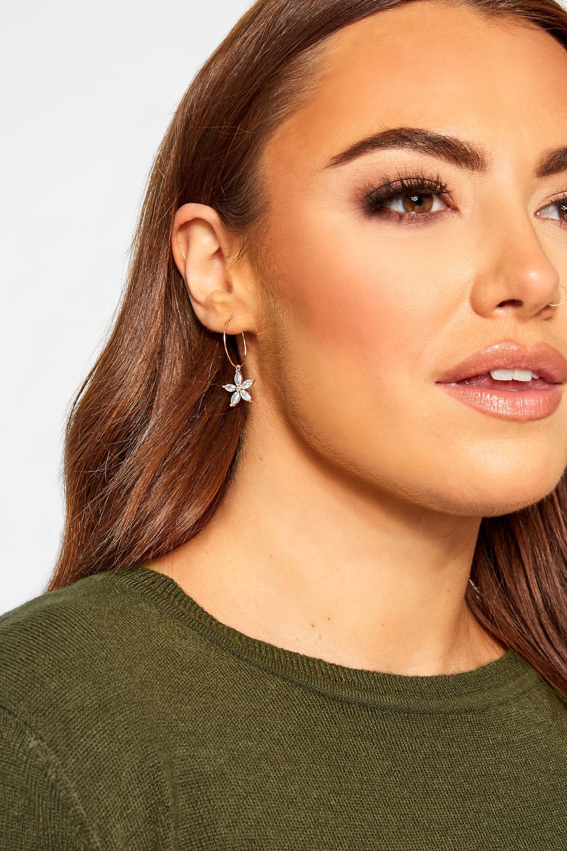 Pink Flower Drop Hoop Earrings