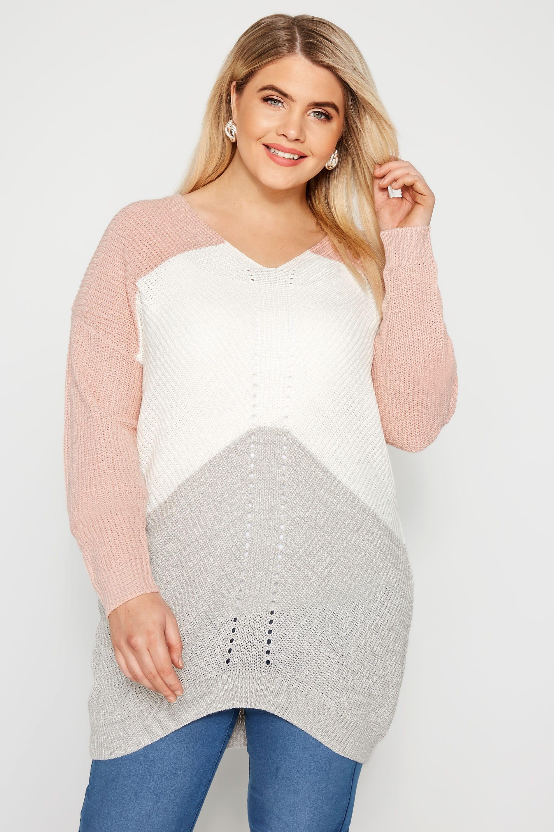 Pink & Grey Colour Block Pointelle Jumper