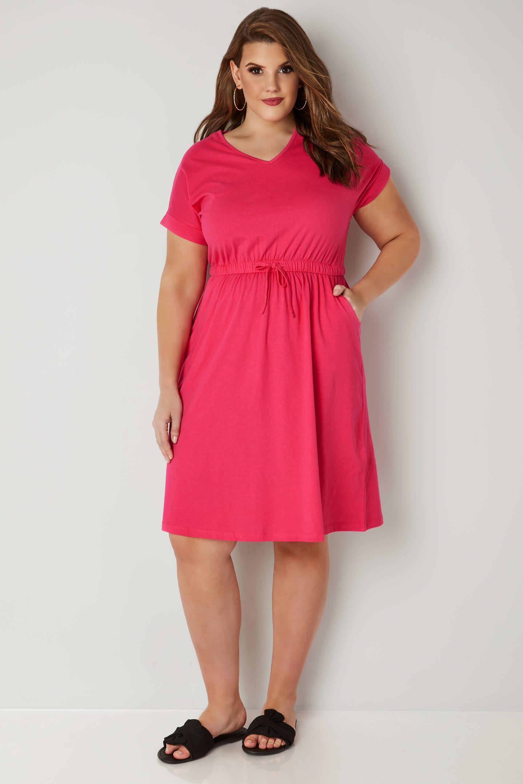 Pinkes T-Shirt Kleid aus Jersey mit Kordelzug, Große ...