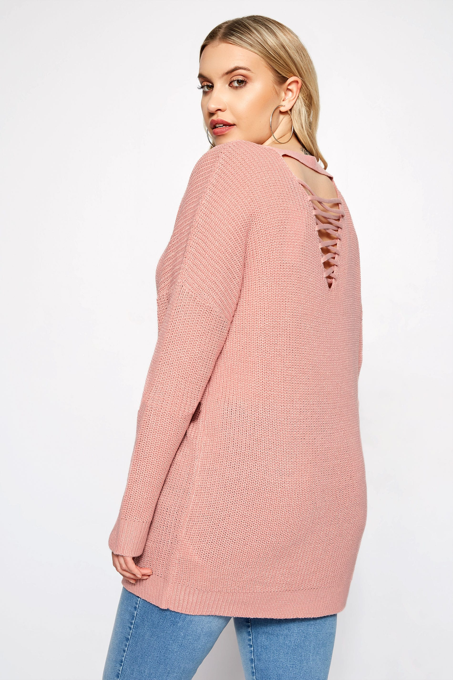 Pink Lattice Back Knitted Jumper