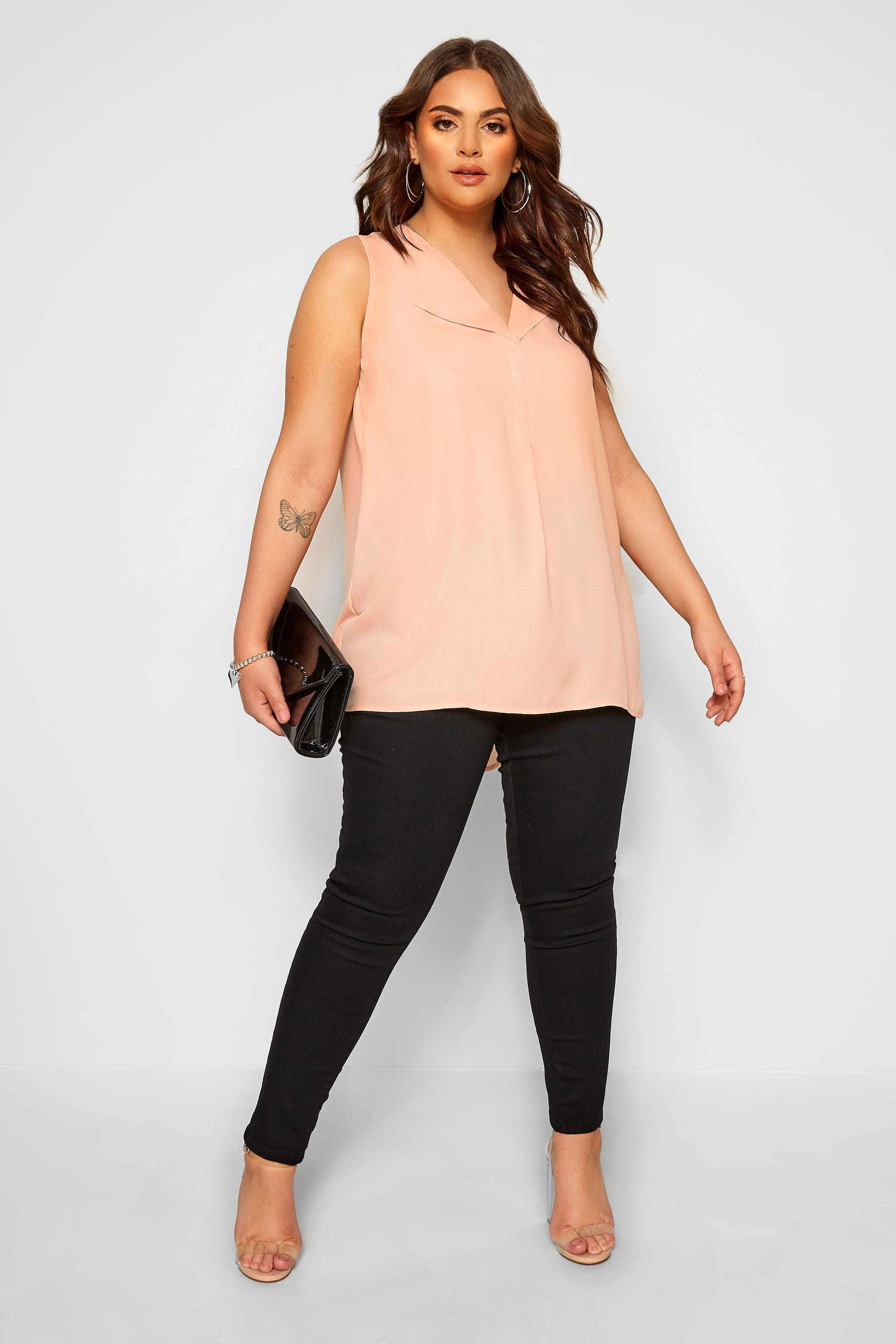 YOURS LONDON Blush Pink Lapel Shell Top