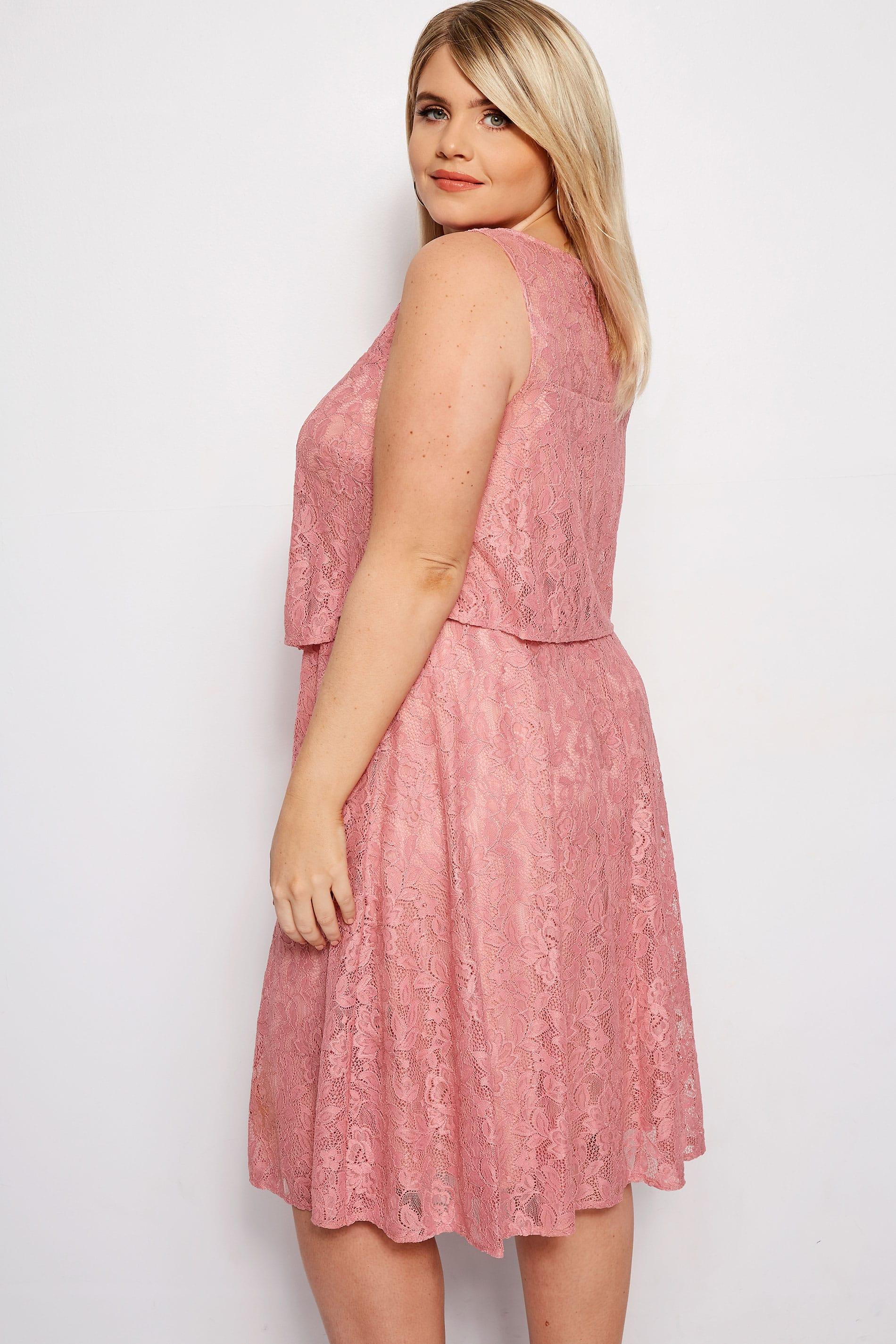 Pink Layered Lace Dress