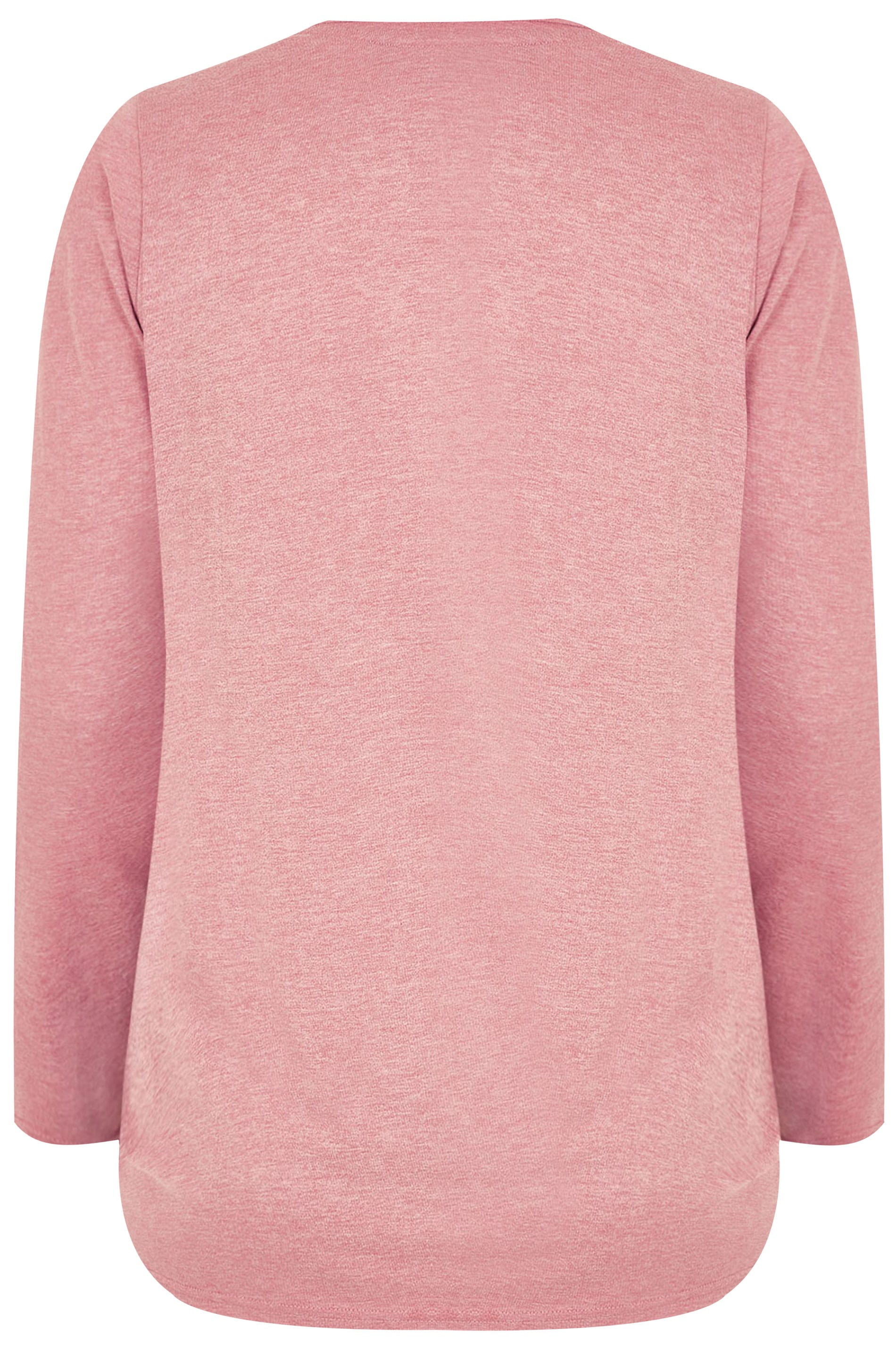 Pink Marl Long Sleeved V-Neck Jersey Top, Plus size 16 to 36