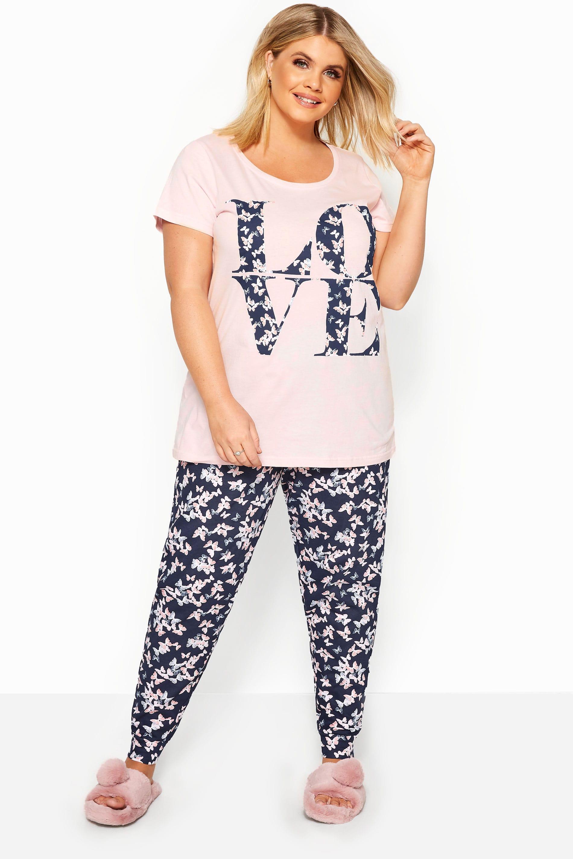 Pink & Navy Butterfly Pyjama Set