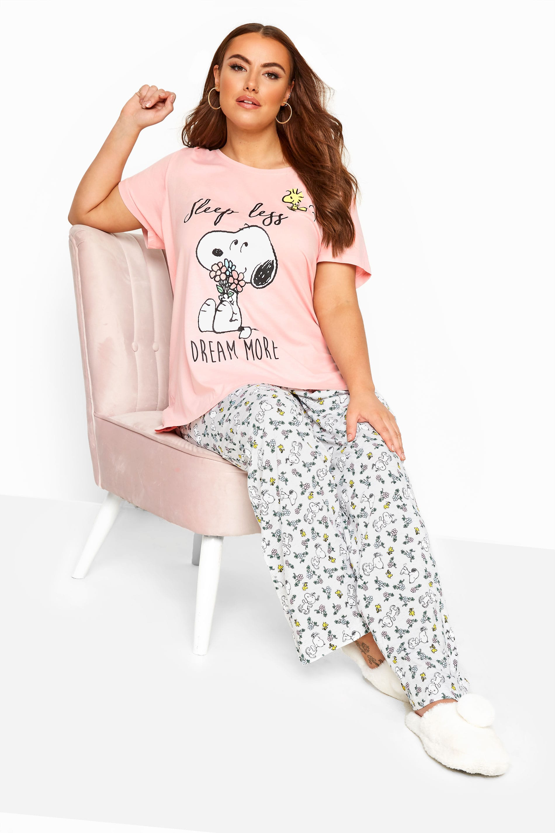 Pink Snoopy Slogan Pyjama Set