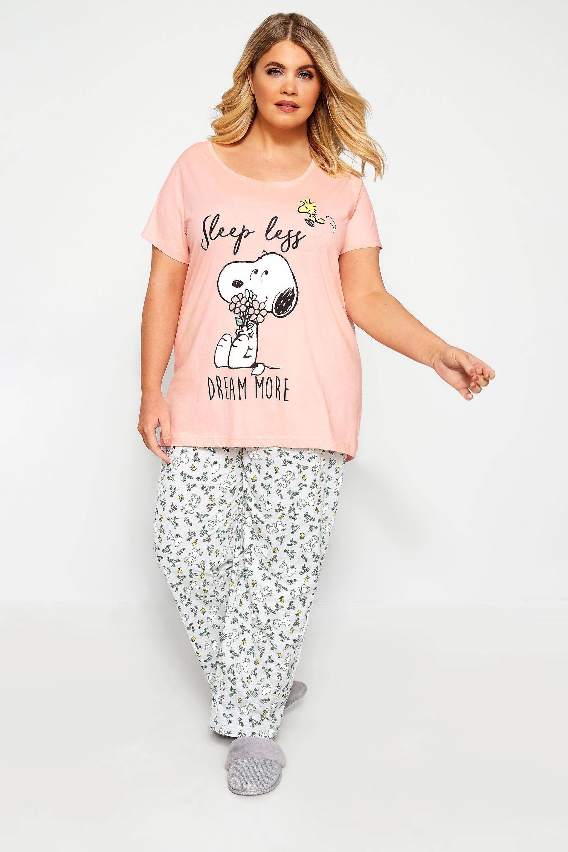 Schlafanzug mit Snoopy Motiv Pink | Yours Clothing