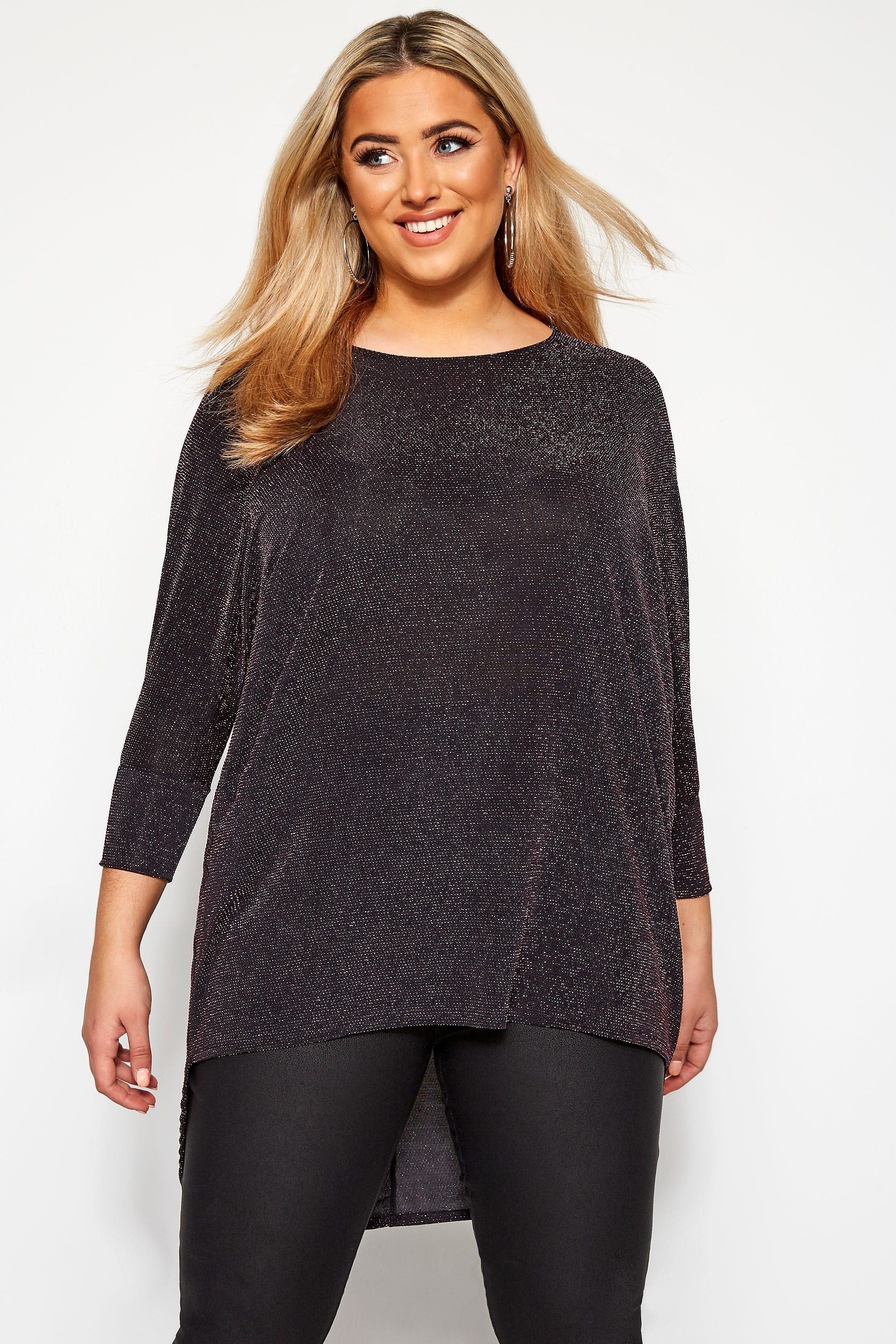 Pink Sparkle Extreme Dipped Hem Top