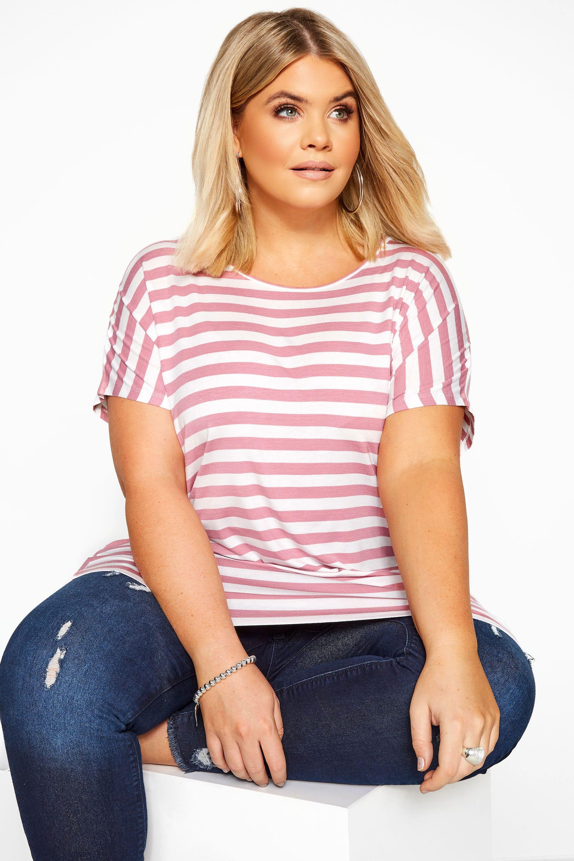 Pink & White Stripe Dipped Hem Top