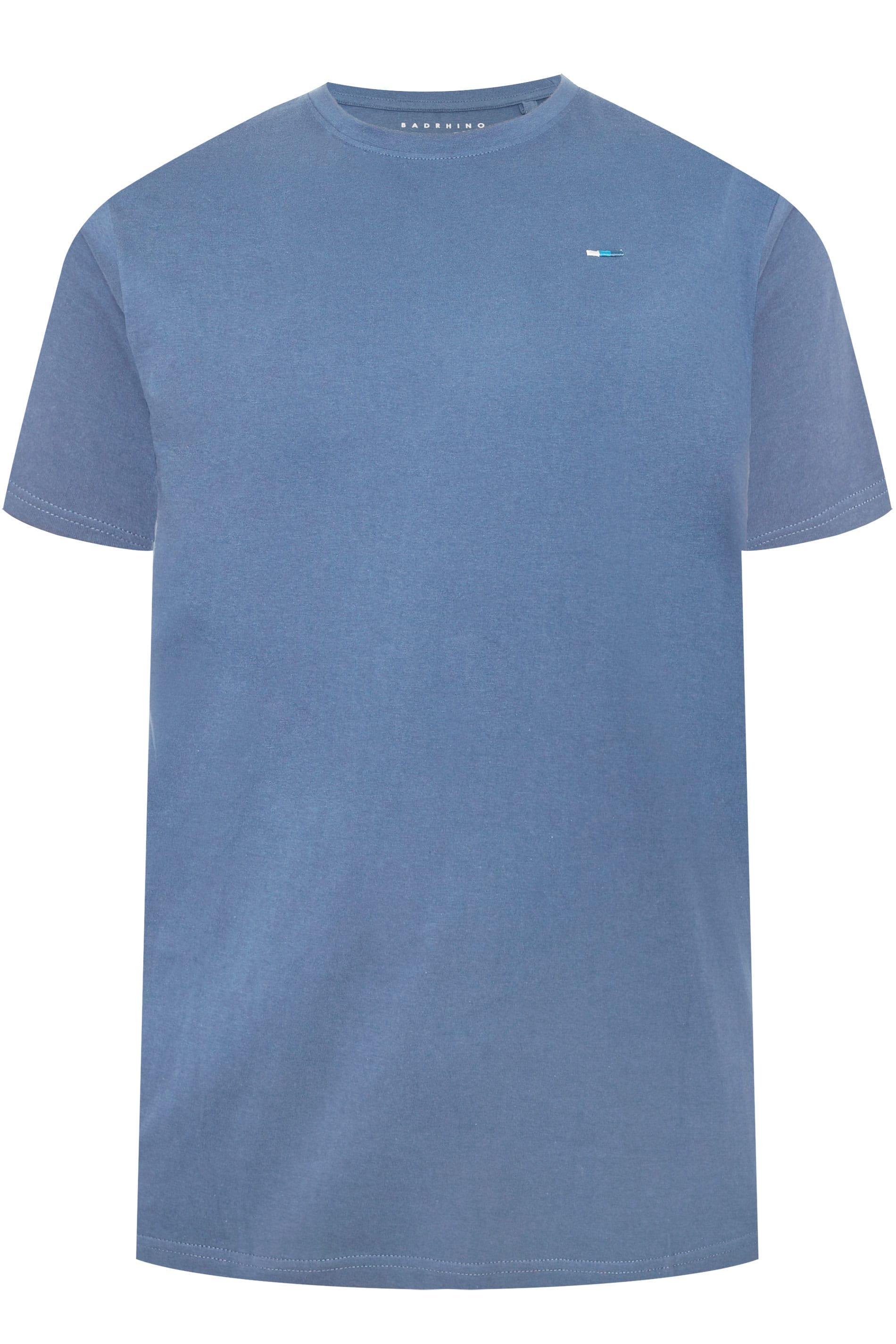 BadRhino Sky Blue Marl Crew Neck T-Shirt