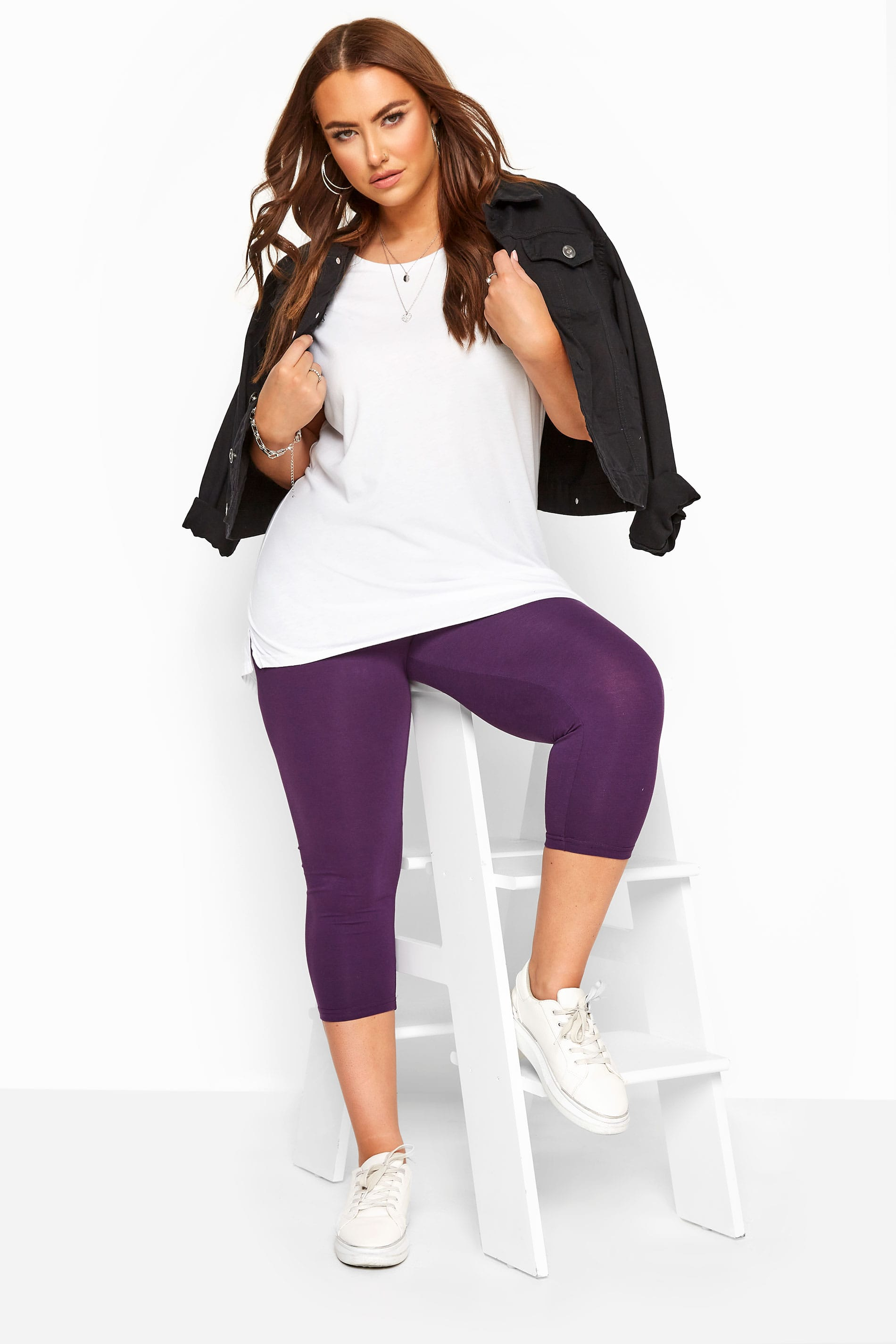 Yours Clothing Ladies Legging Viscose//Elastane Stretch Machine Wash Purple