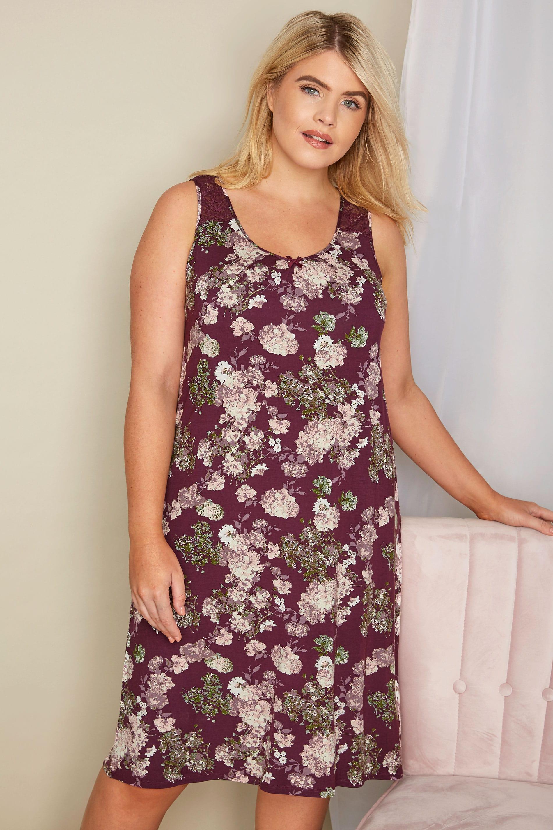 Purple Floral Lace Loungewear Chemise