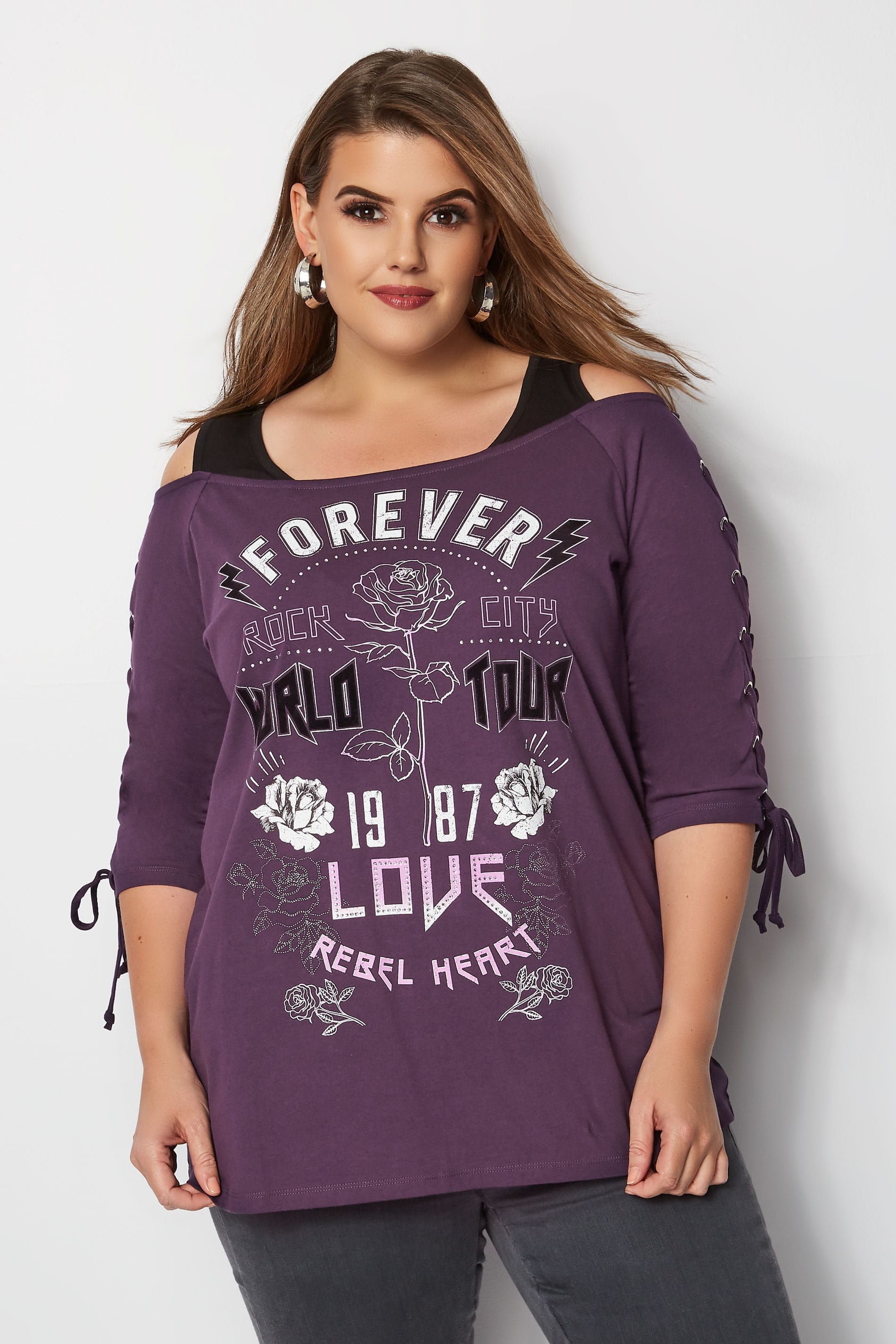 Purple 'Forever Love' Bardot Top With Eyelet Lattice Sleeves