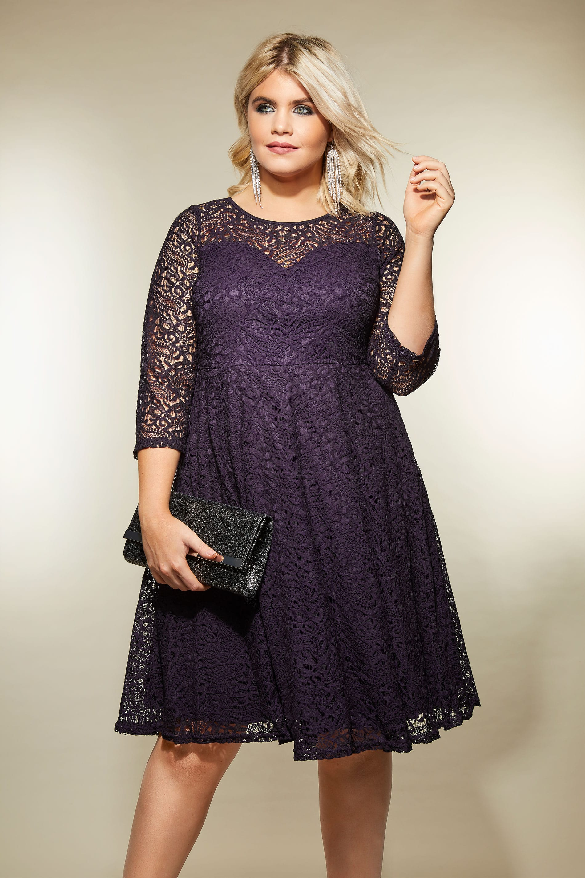 Purple Lace Skater Dress