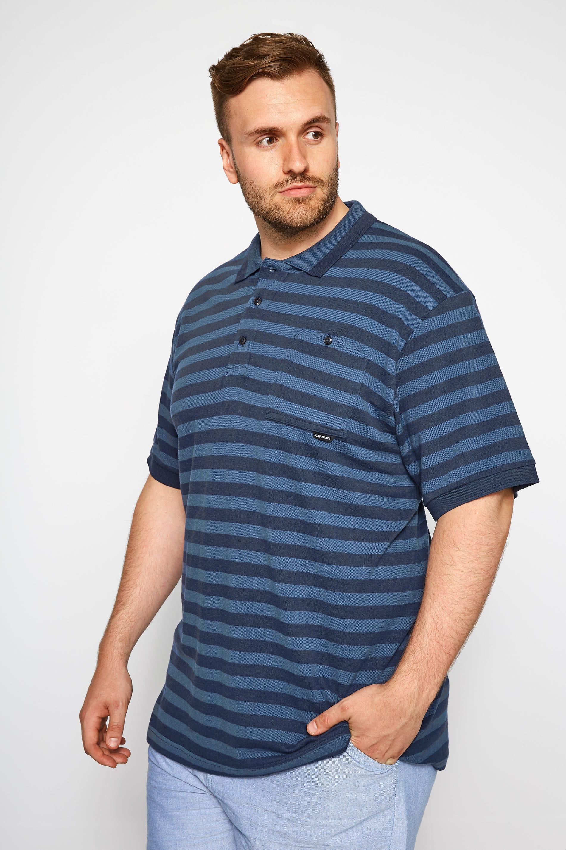 RAWCRAFT Blue Striped Polo Shirt