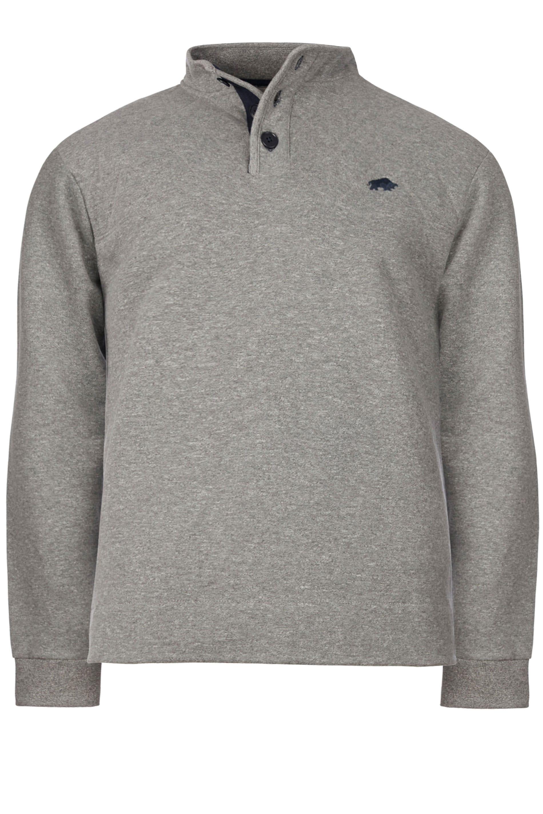 RAGING BULL Grey Signature Button Sweatshirt