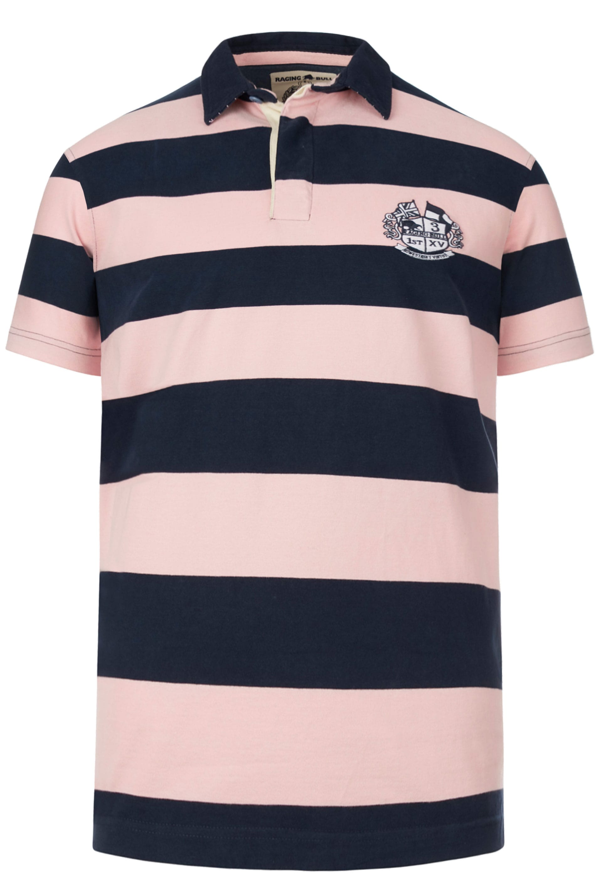 RAGING BULL - Poloshirt van katoen met strepen in roze