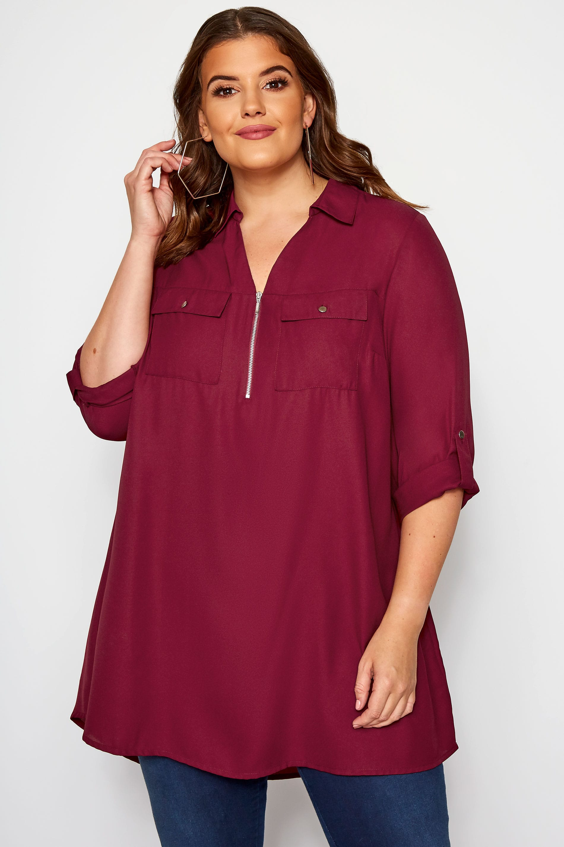 Raspberry Pink Shirt With Zip Front