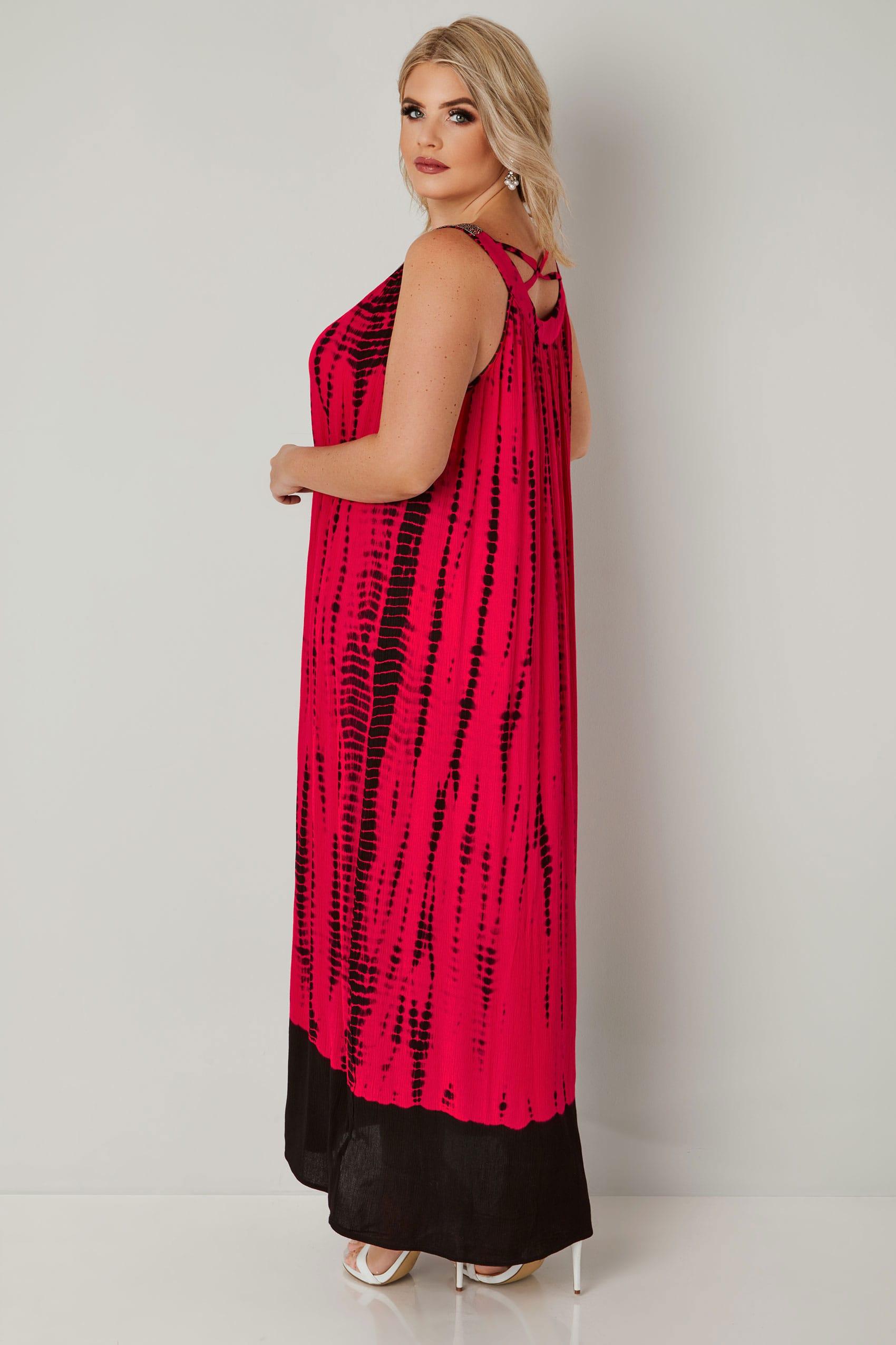 Pinkes & Schwarzes Maxikleid mit Tie Dye Muster und ...