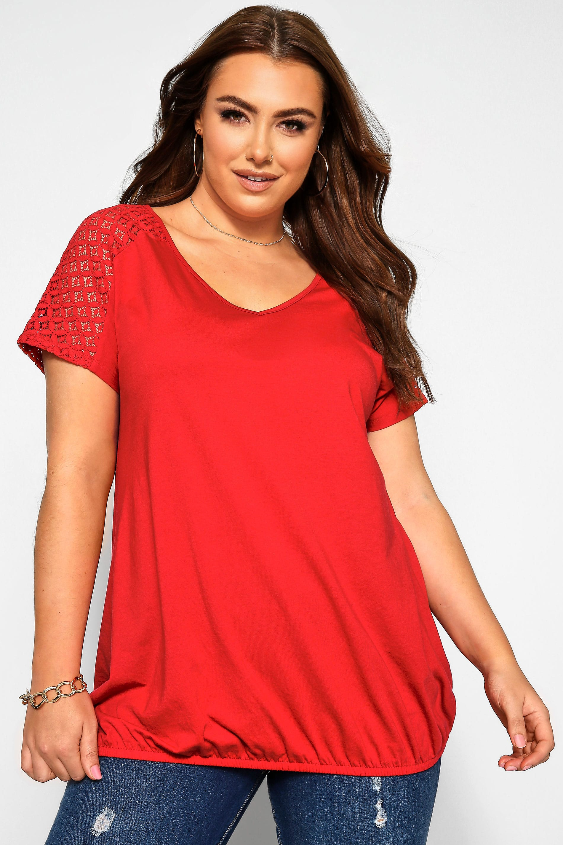 Red Crochet Lace Bubble Hem Top