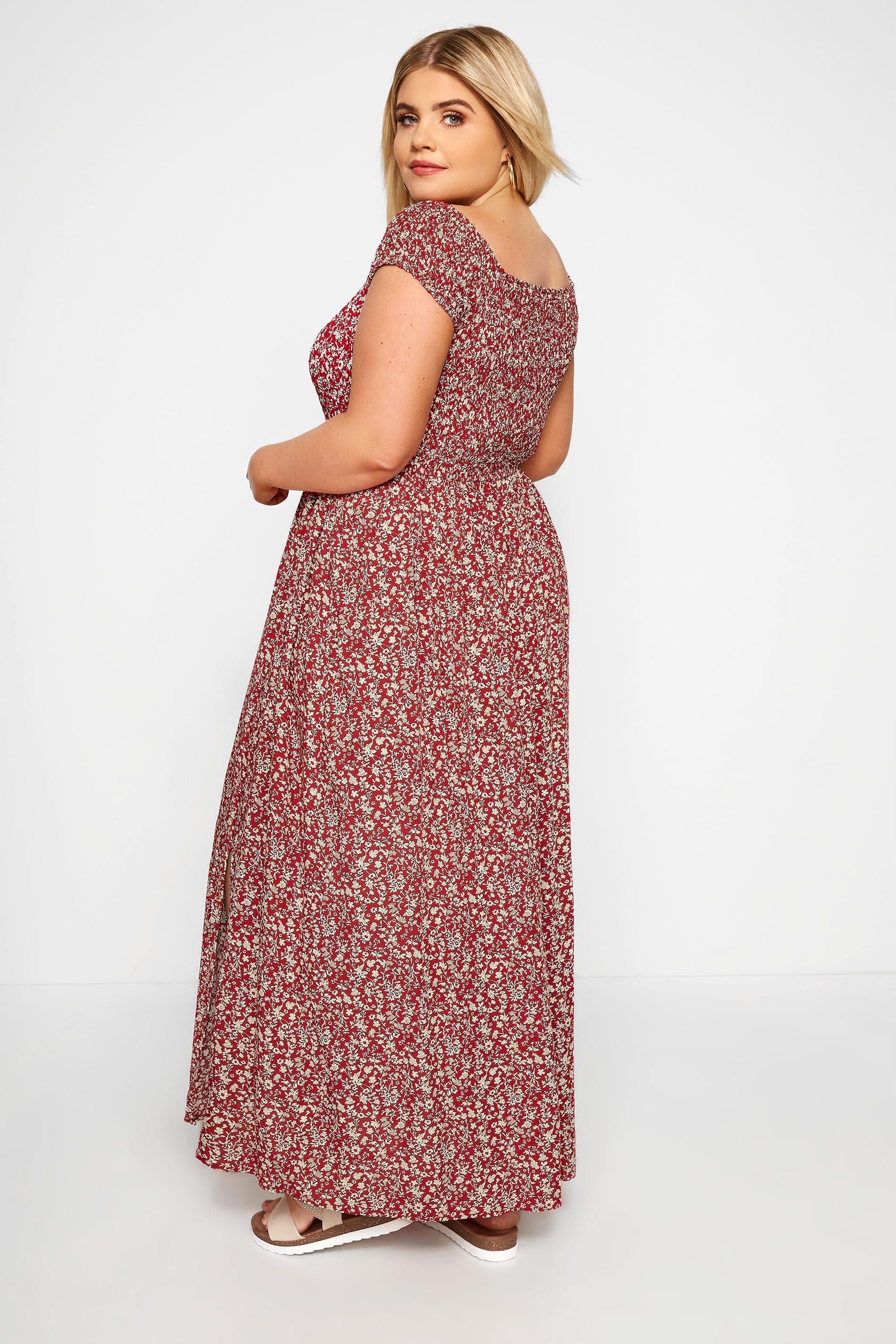 Maxi-Kleid mit Blümchen - Rot, große Größen 44 bis 64