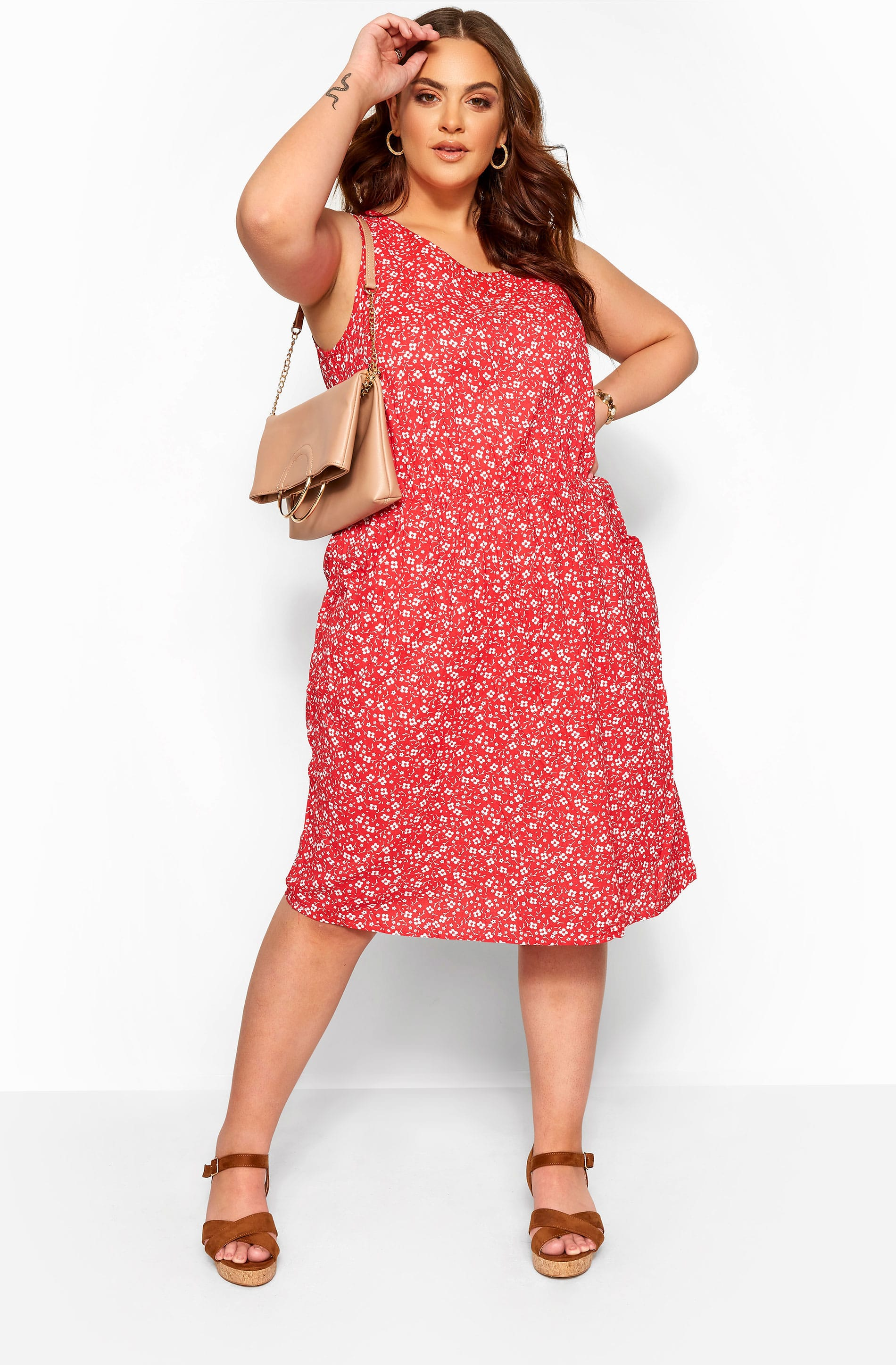 Red Ditsy Floral Pocket Skater Dress