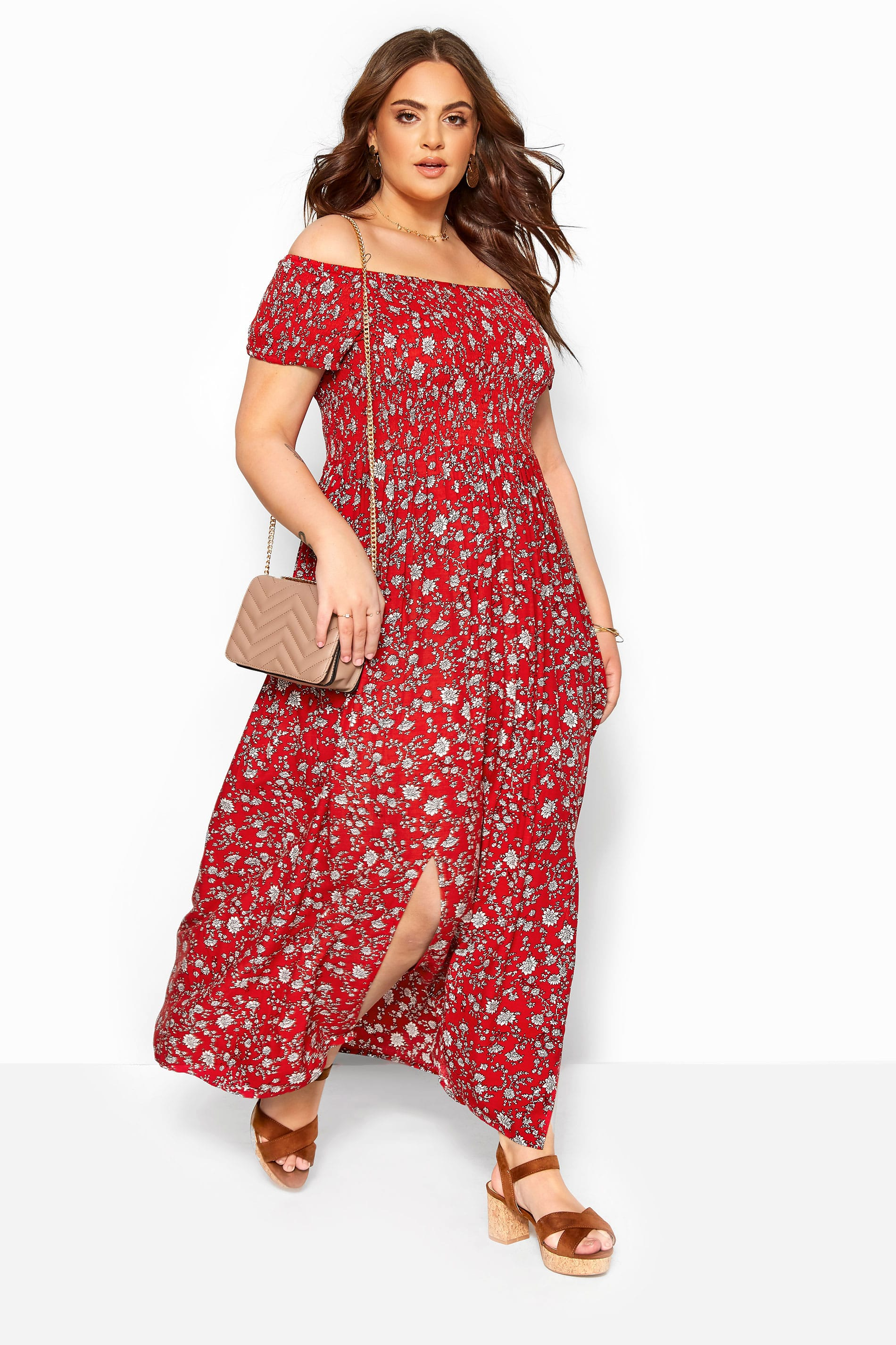 Red Ditsy Floral Shirred Bardot Maxi Dress