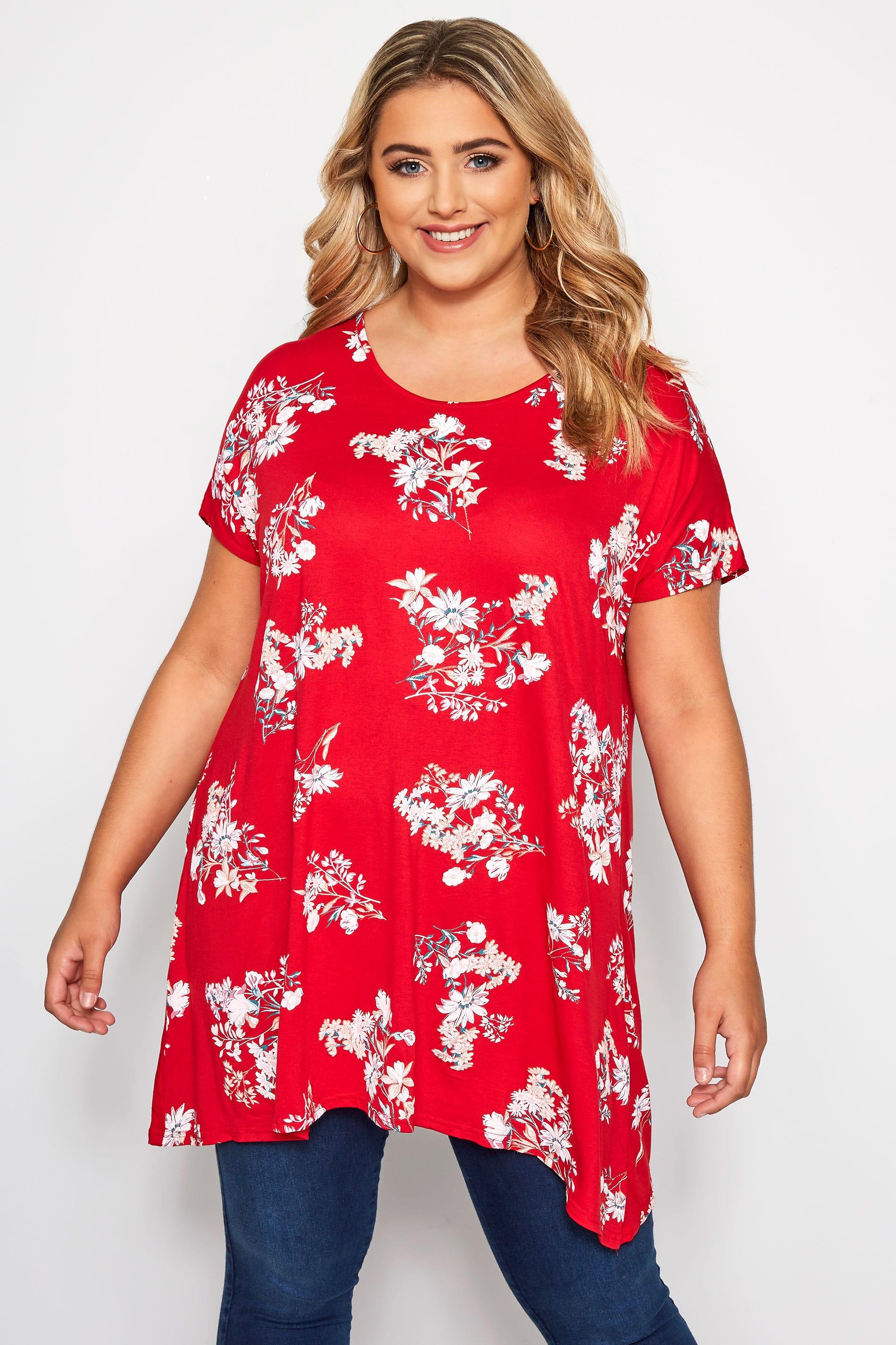 Red Floral Print Hanky Hem T-Shirt
