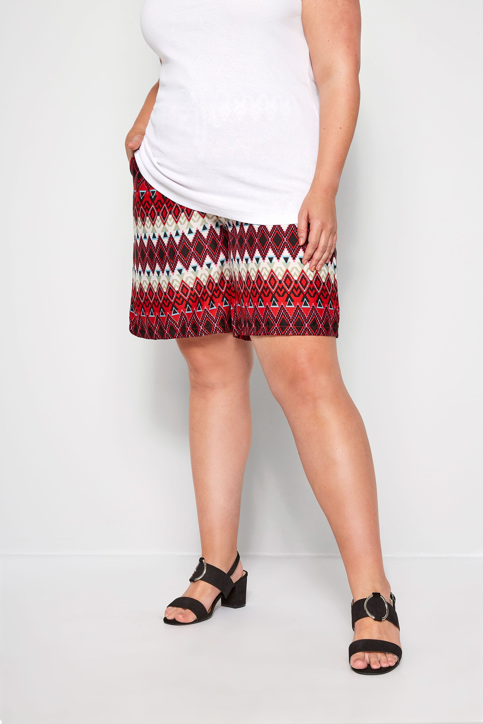 Red Geo Print Pull On Shorts