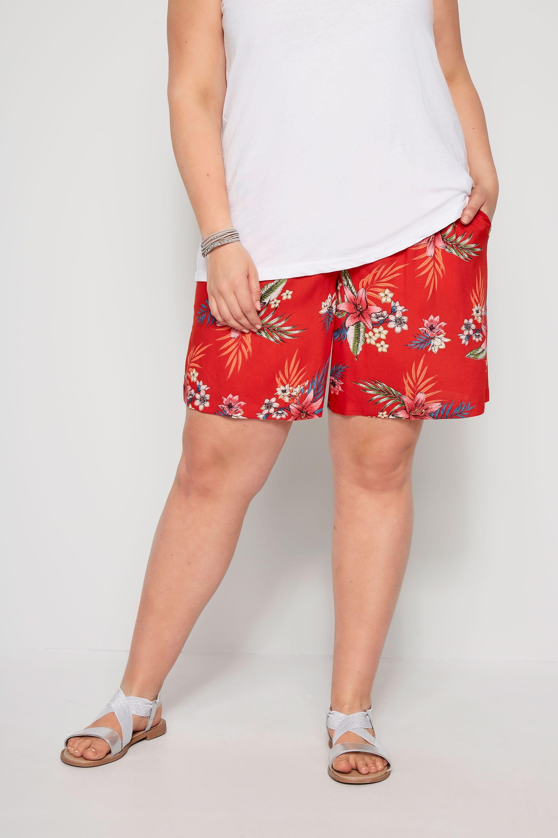 Red Hawaiian Floral Shorts