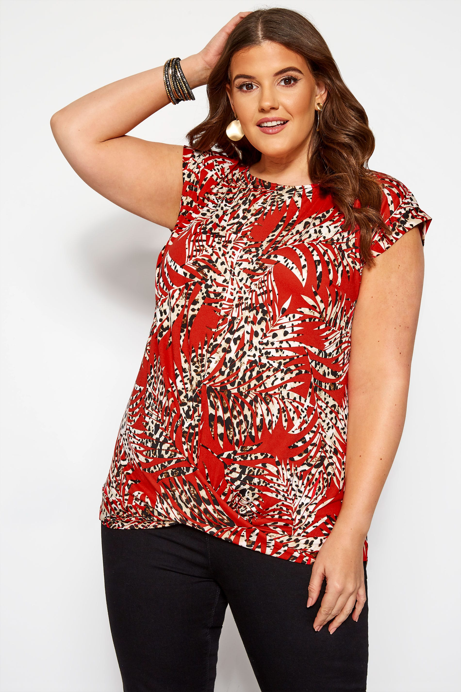 Red Leopard Leaf Print Top