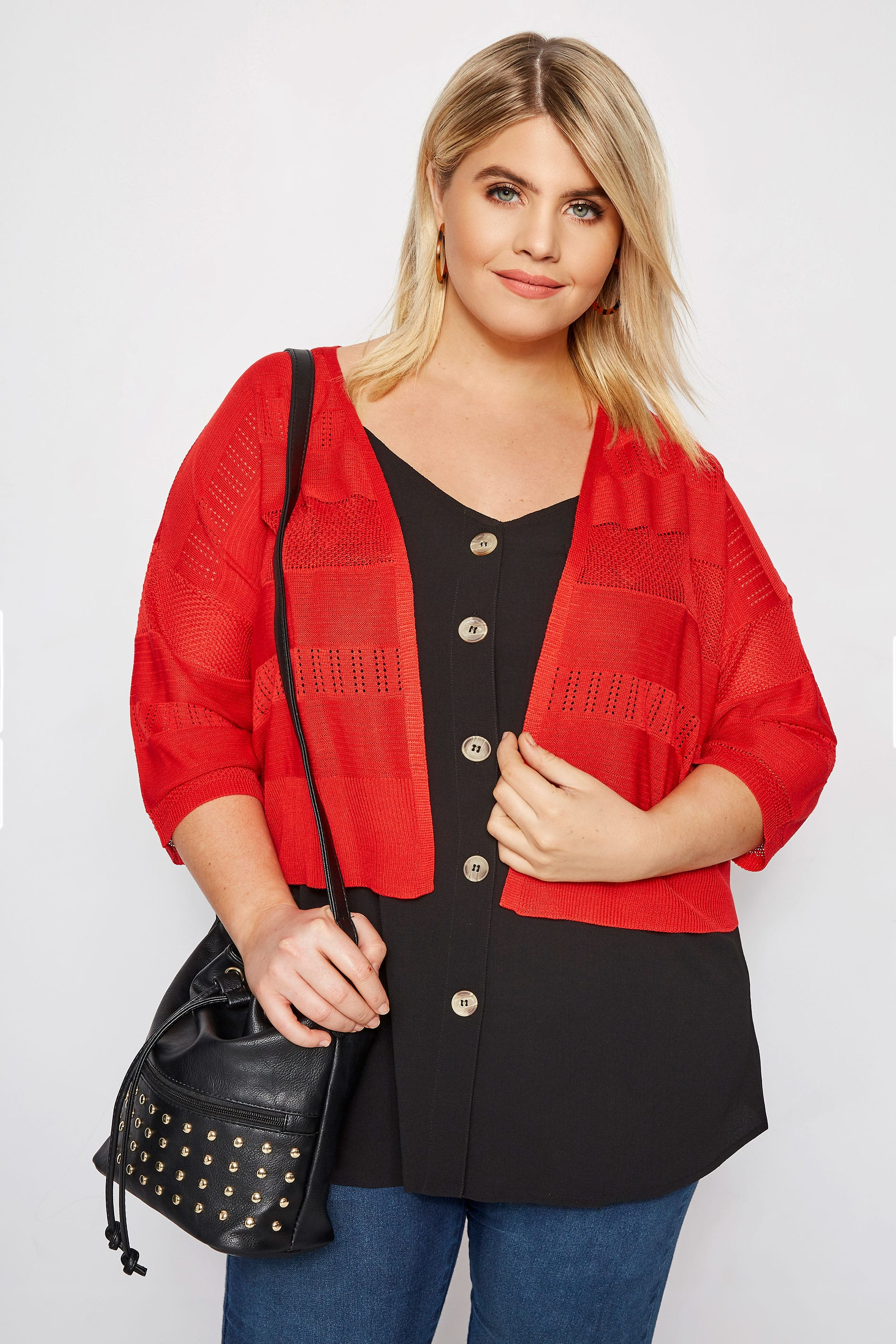 Red Pointelle Cropped Cardigan
