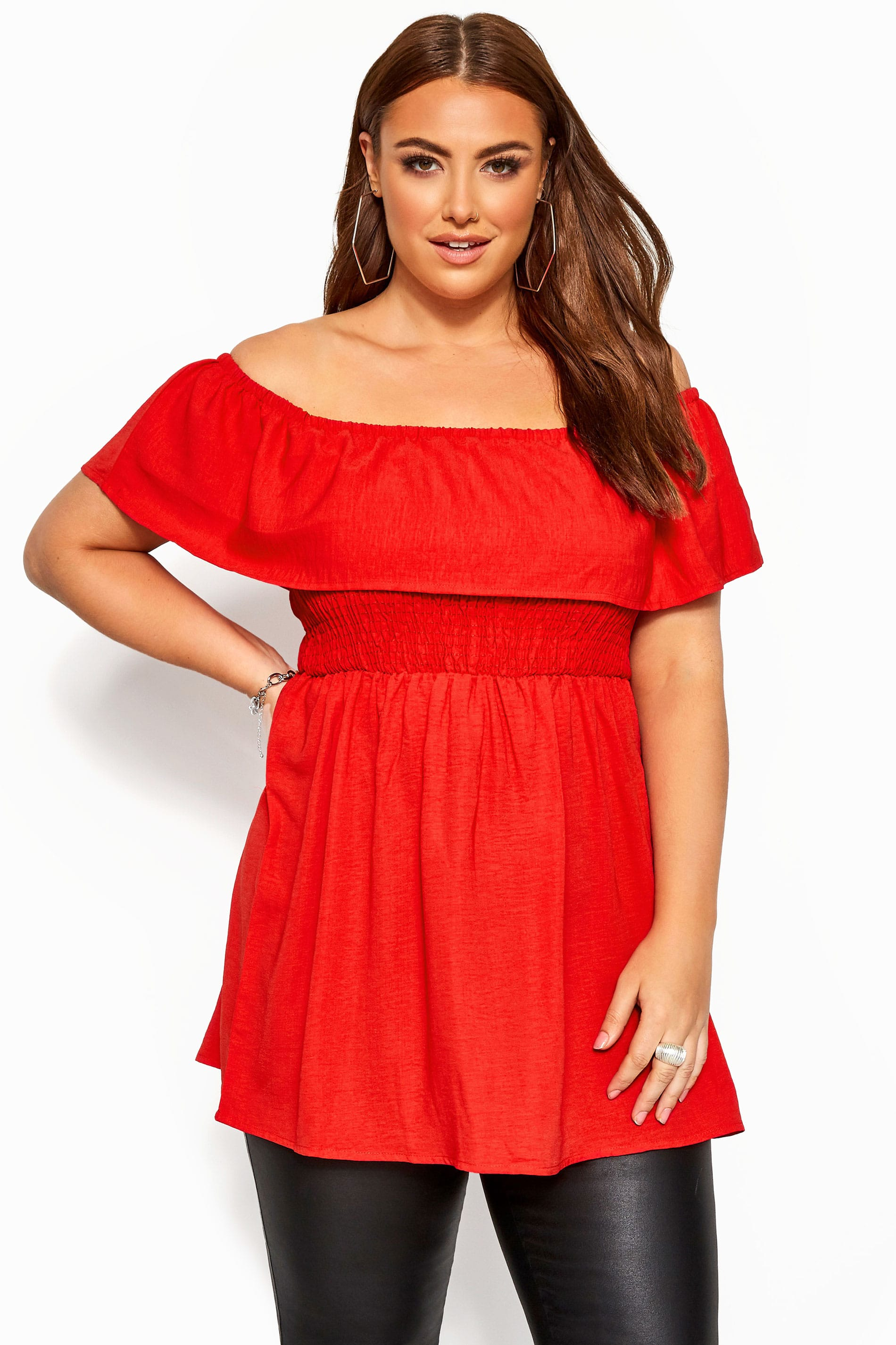 Red Shirred Bardot Top