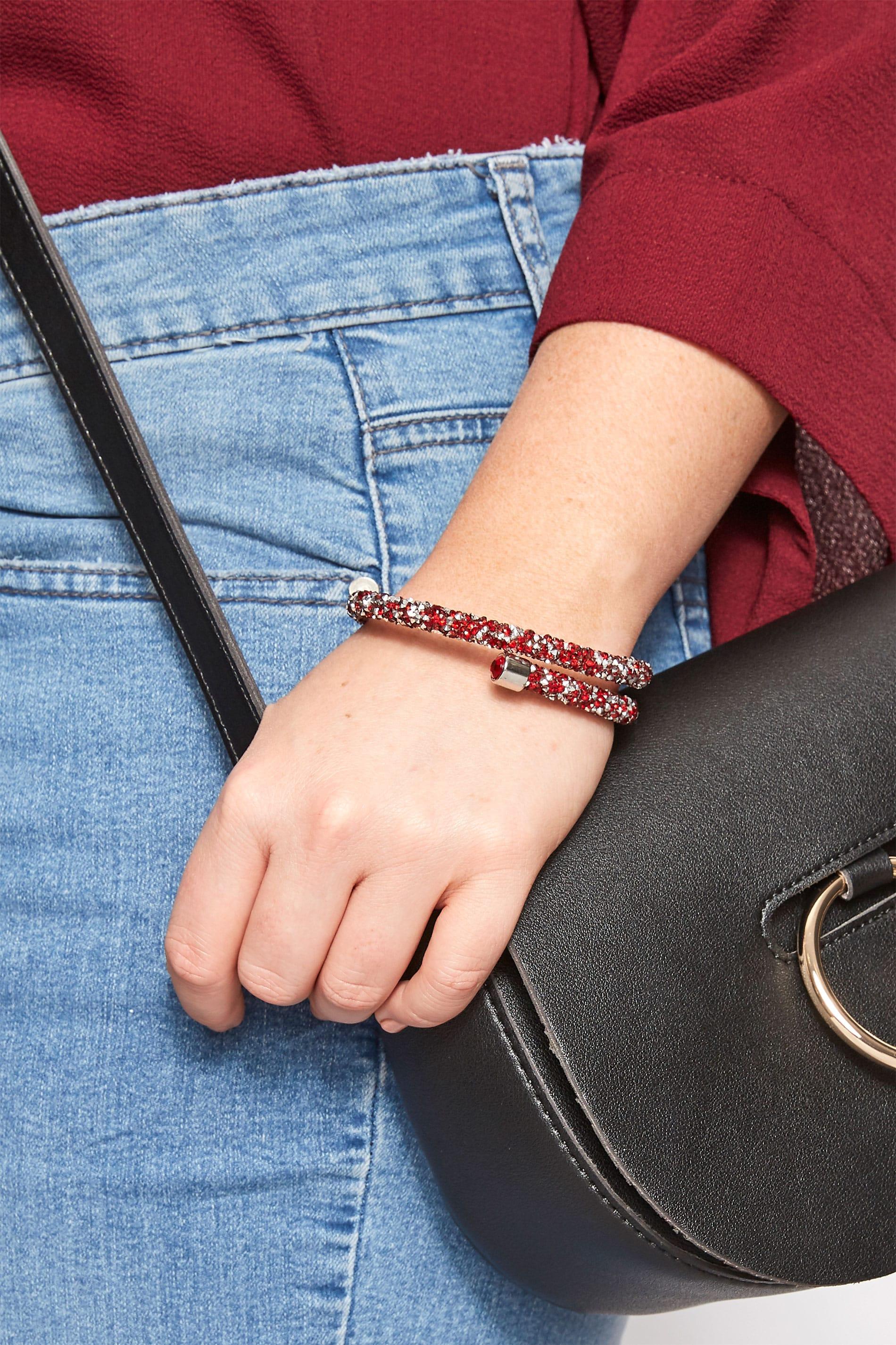 Red & Silver Bead Wrap Bracelet